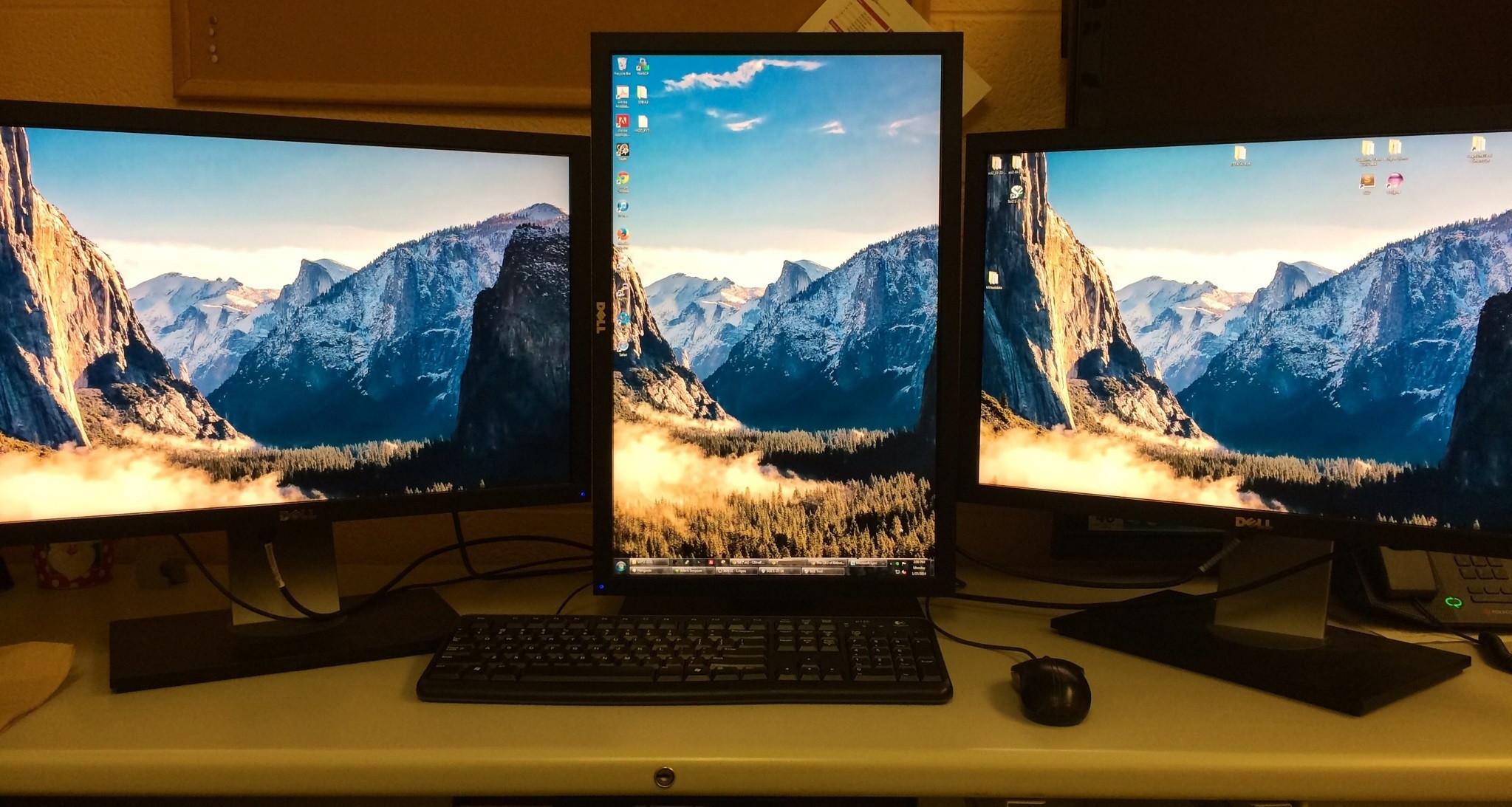 It's hard to find a decent wallpaper for a landscape-portrait-landscape 3  monitor setup, but I think this will do the trick (Software Dev  Battlestation) …