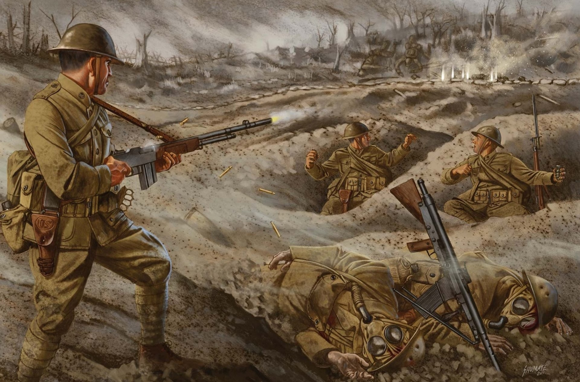 art war trenches men lightweight machine gun browning automatic rifle 1  shots picture
