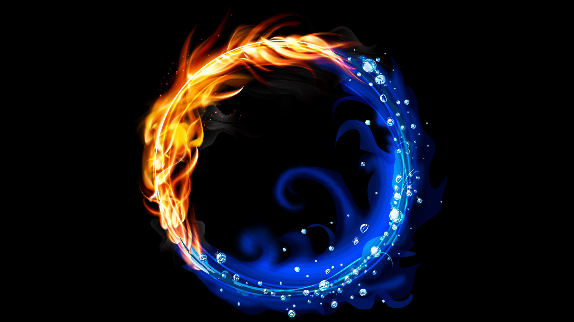 Abstract Artwork Birds Fire Water Yin Yang » WallDevil – Best free .