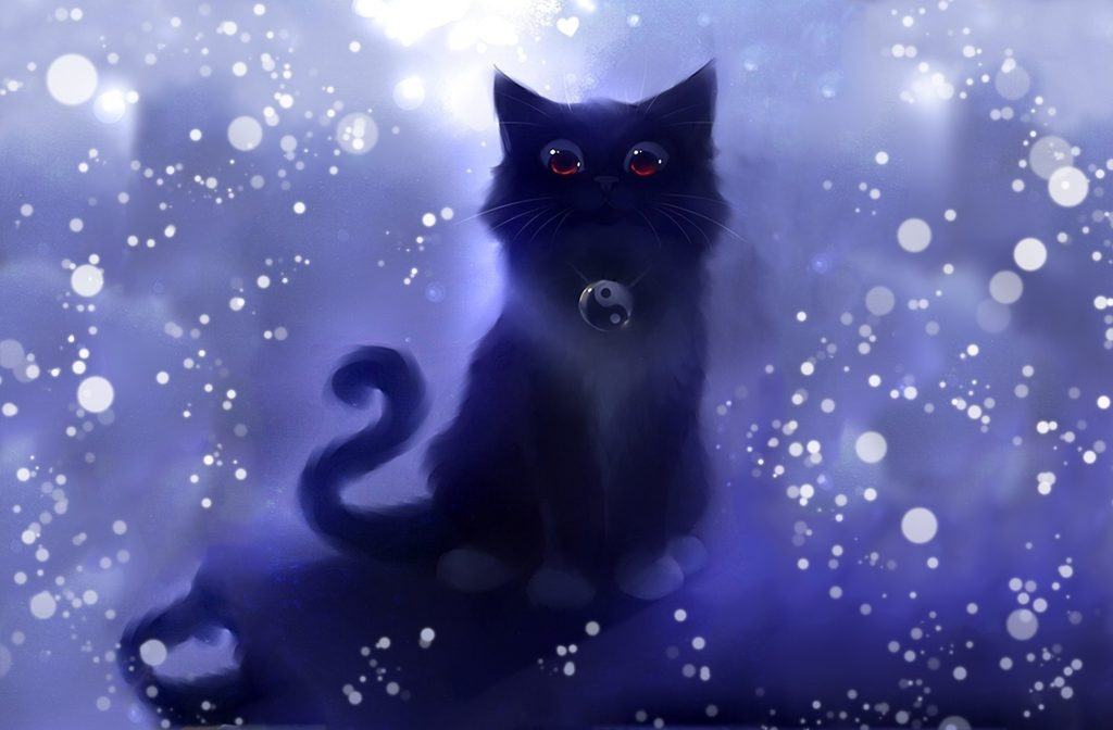 picture art roydz style apofiss cat cat following sparks symbol yin-yang