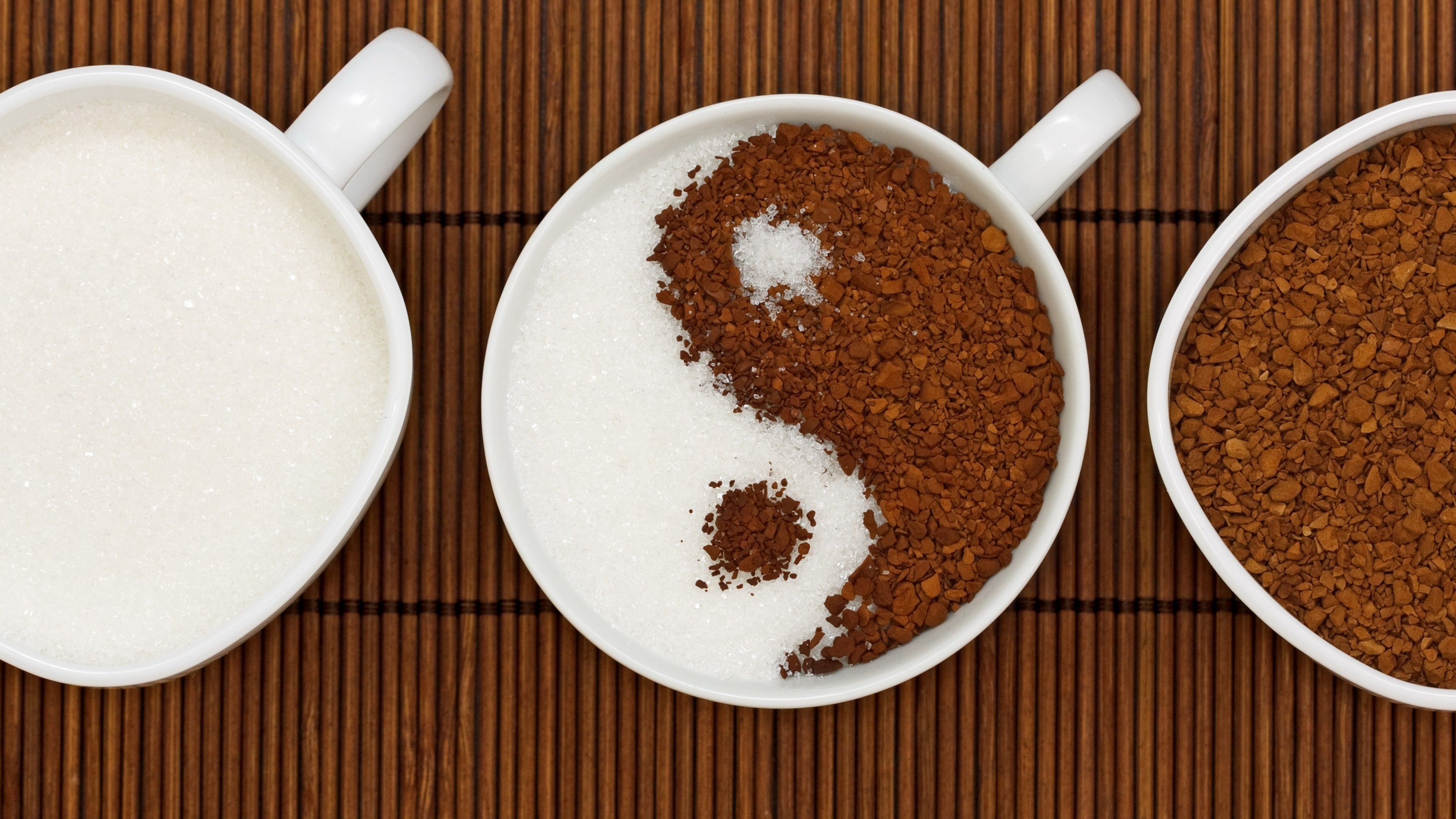 Preview wallpaper coffee, yin yang, sugar 3840×2160