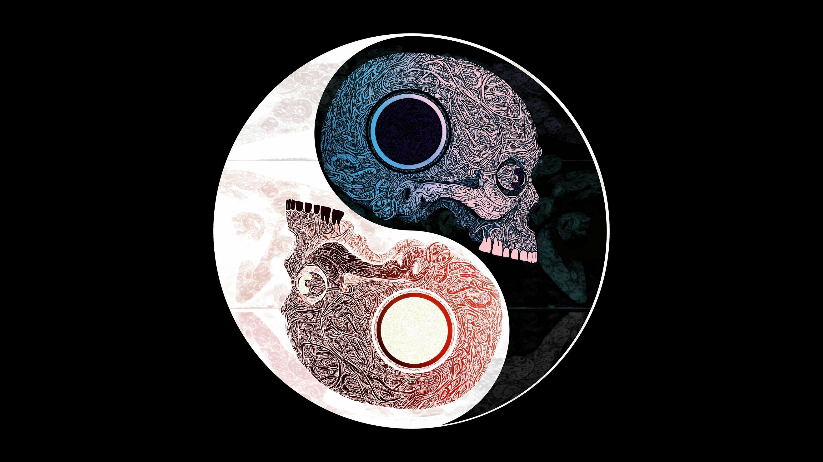 Skull Yin Yang 4K [3840×2160] …