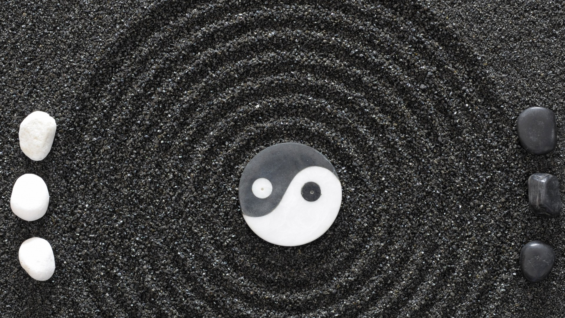 Preview wallpaper yin-yang, stones, earth, symbol, harmony 1920×1080