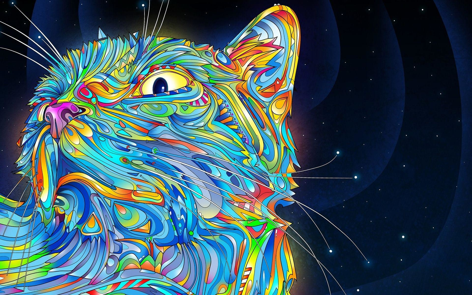 Cat Trippy Creative Colorful Wallpaper High Quality Wallpapers .