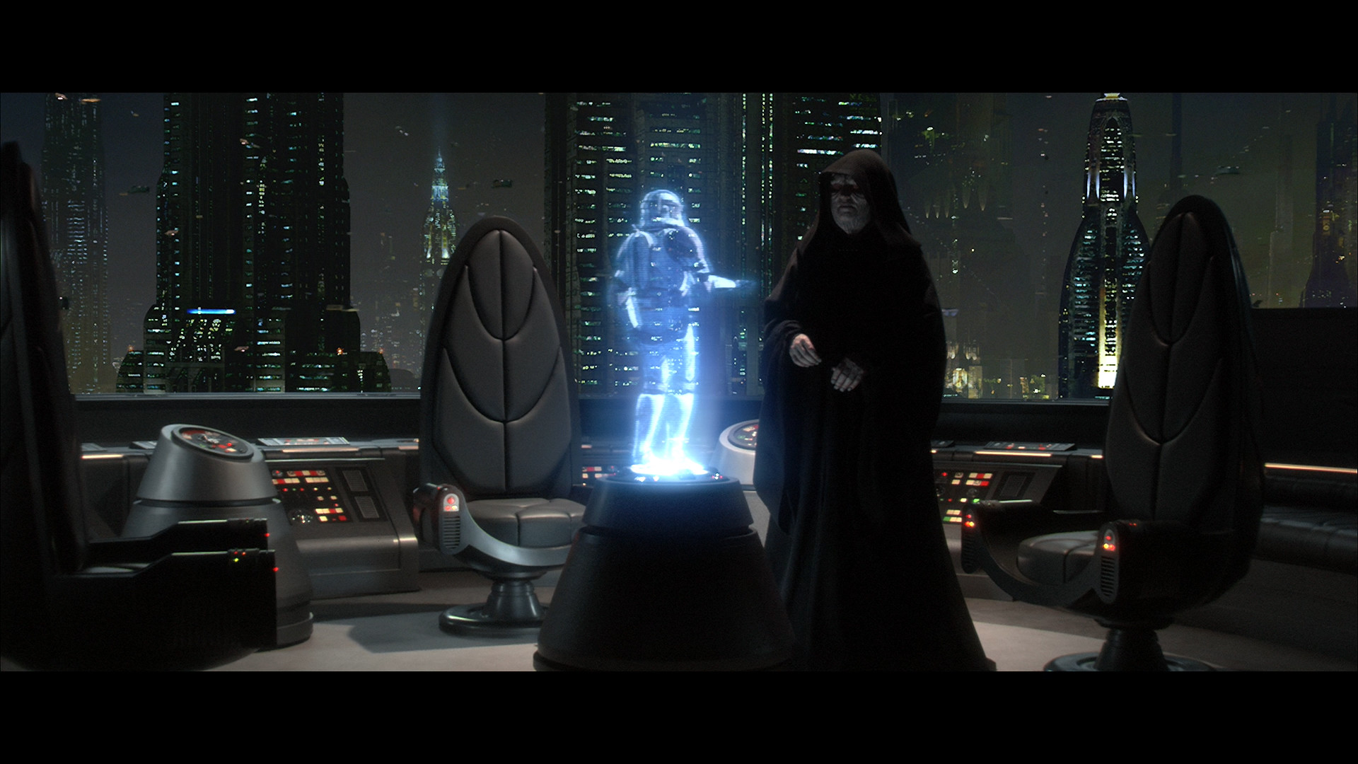 … Darth Sidious talks to a clone trooper in Revenge Of The Sith …
