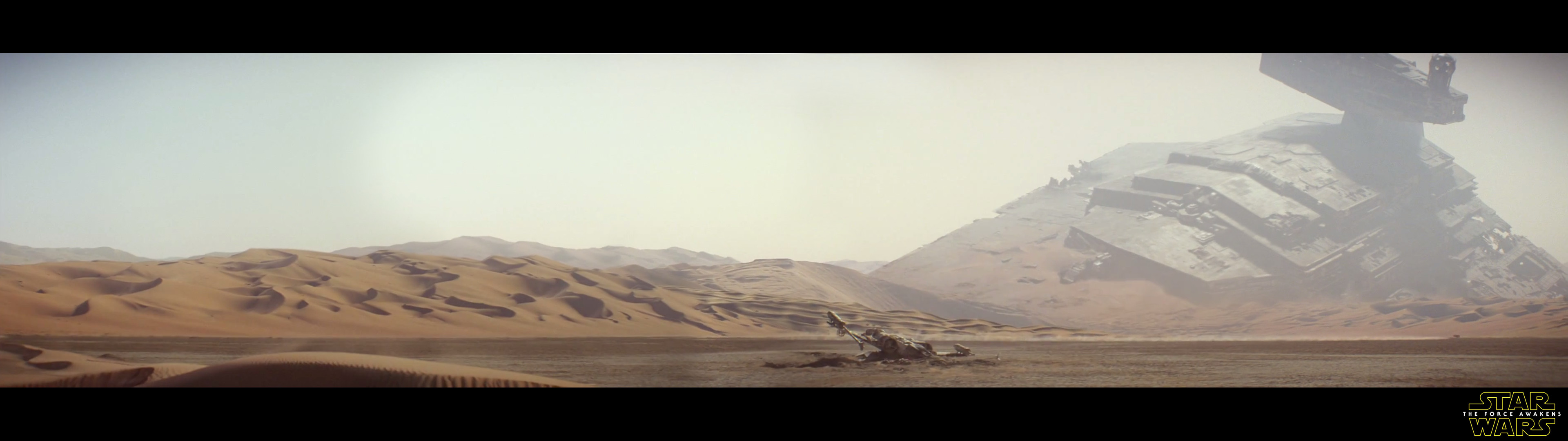 I spliced the new trailer's opening pan together into a dual monitor  wallpaper. Enjoy!