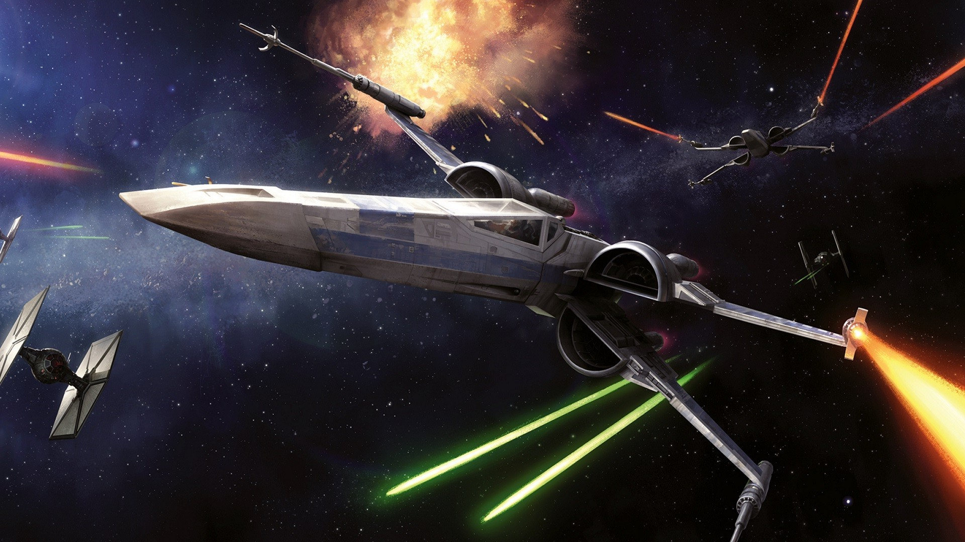 Star Wars, Space, Spaceship, X wing, Laser, Lasers, Science Fiction