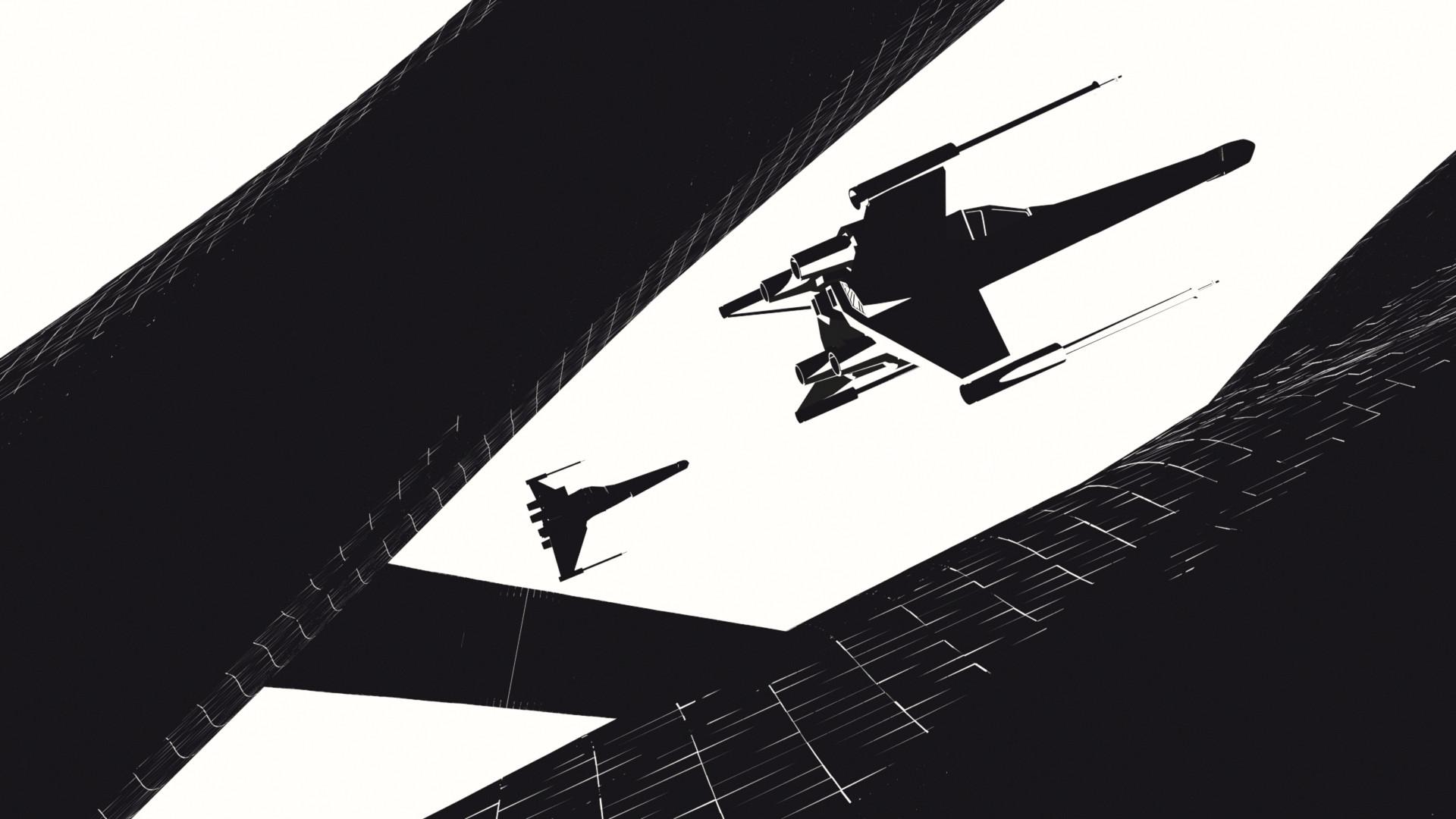 Black White X-Wing Wallpaper