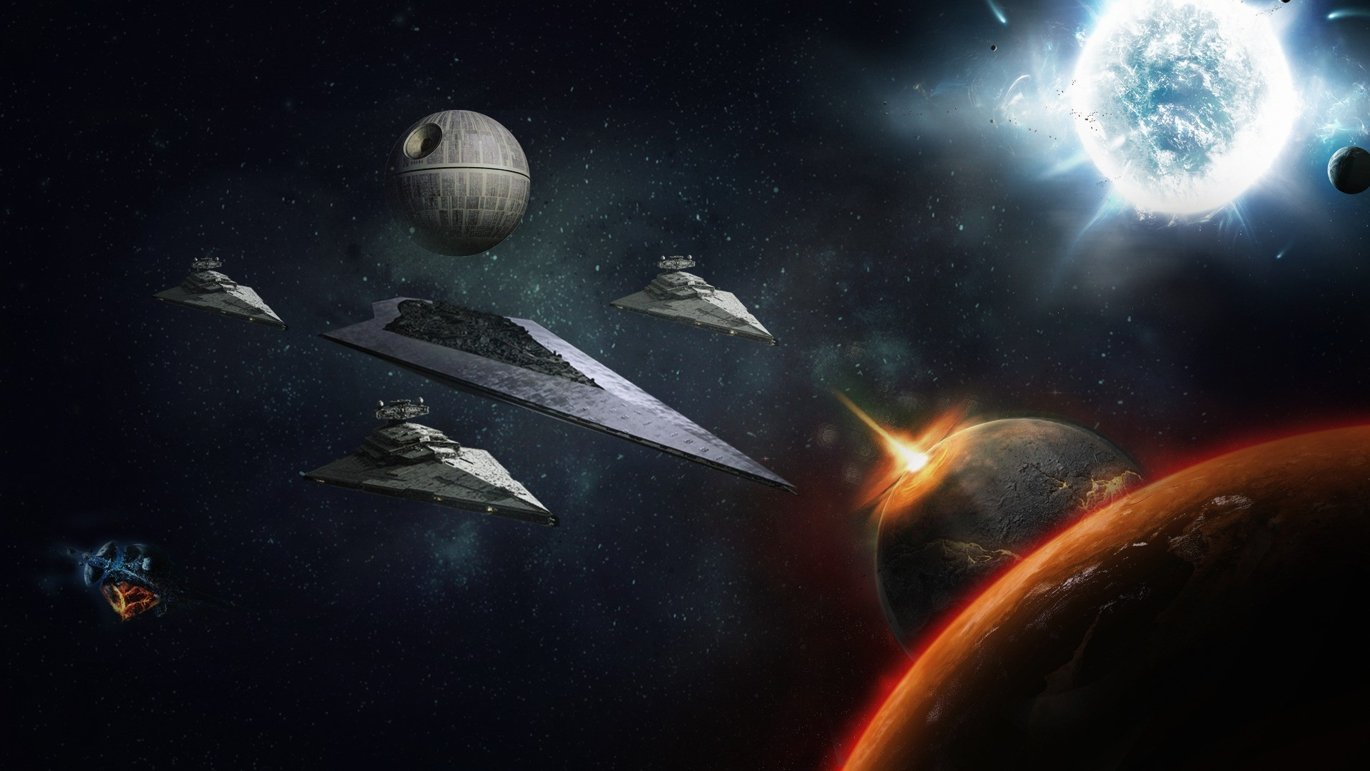 Star Wars, death star, fantasy, game, planet, space, starship,