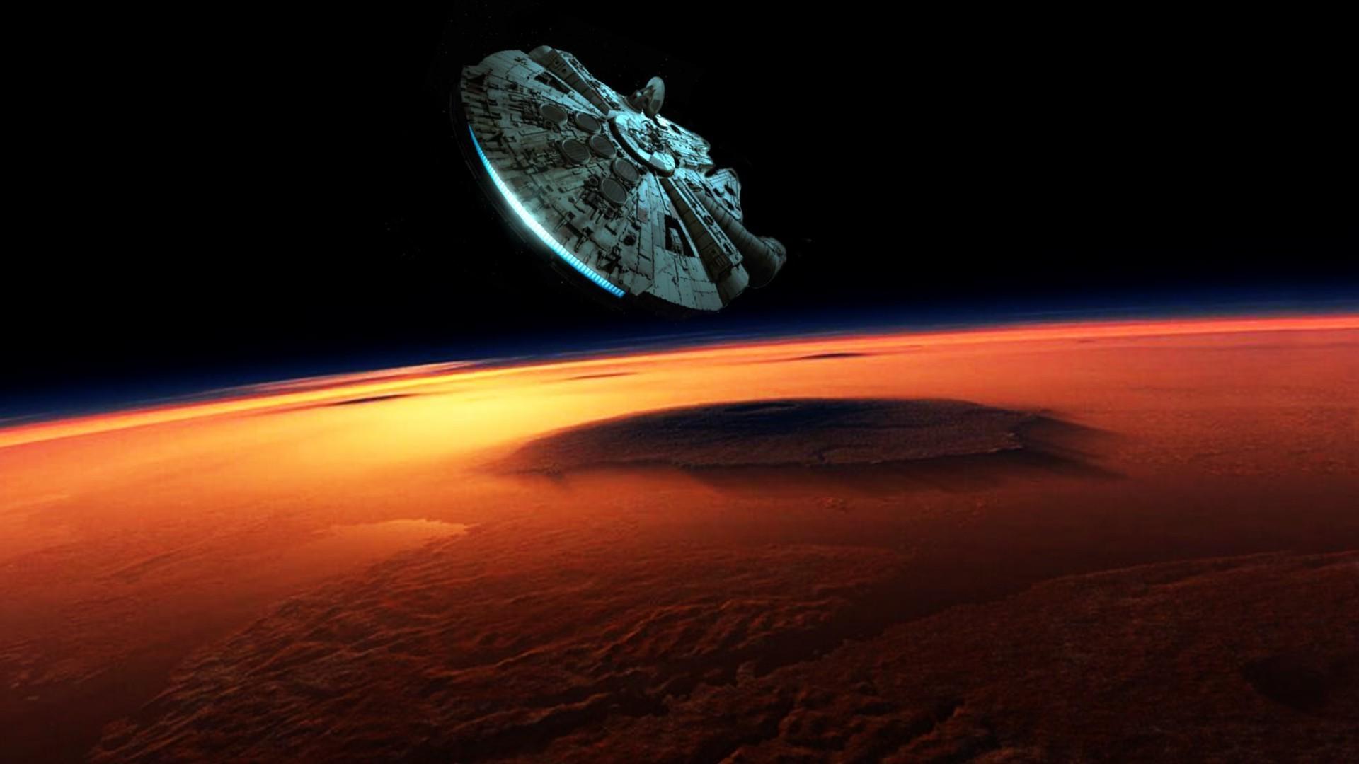 Star Wars, Planet, Space, Millennium Falcon wallpaper