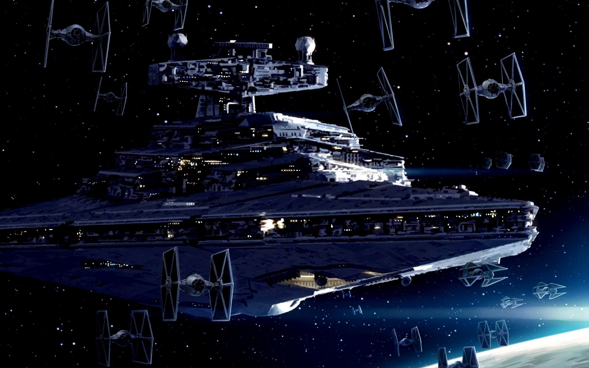 Imperial Starfleet, Star Destroyer, TIE fighter, Star Wars, Art