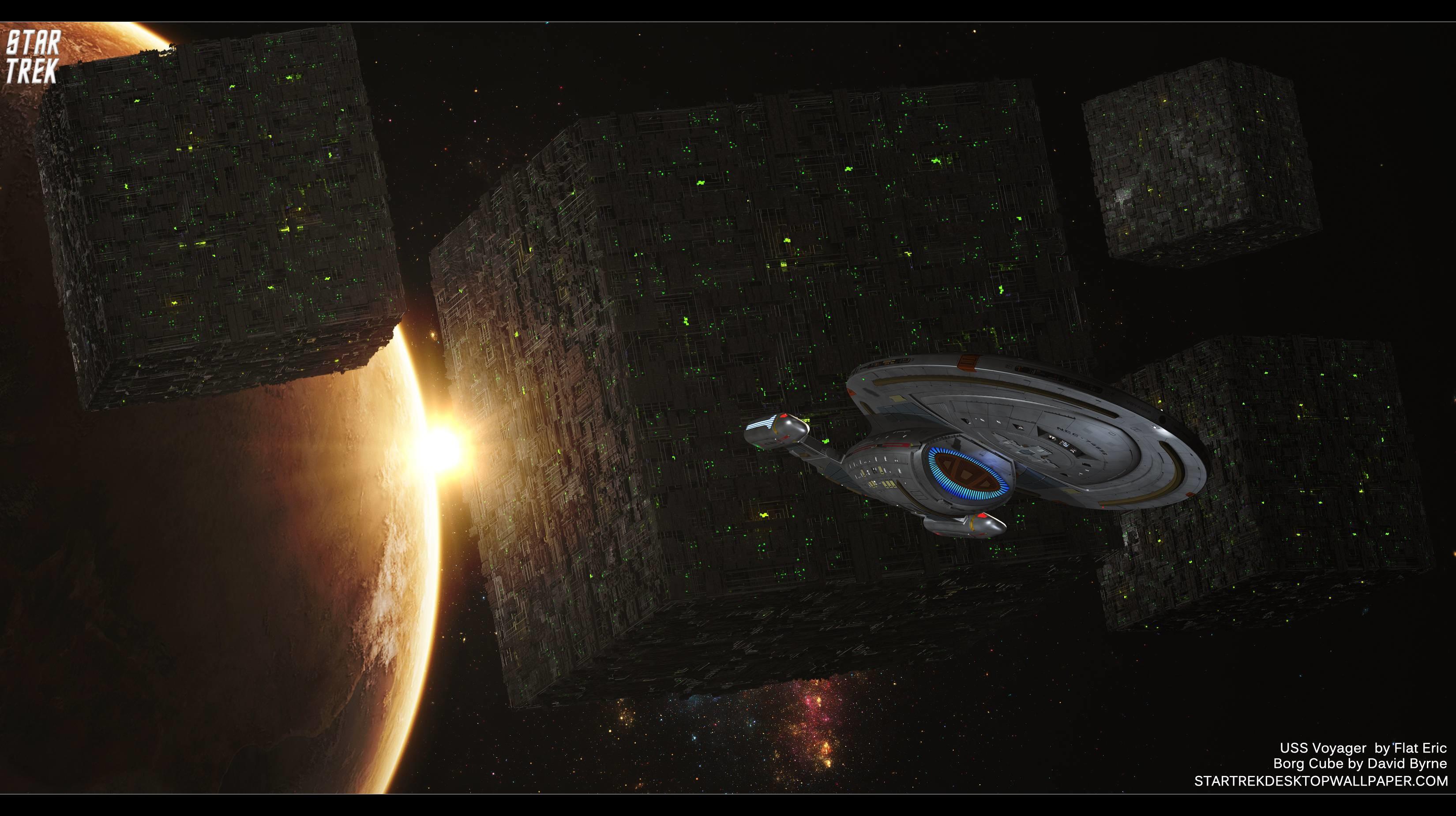 Star Trek Borg Cube And USS Voyager, free Star Trek computer .