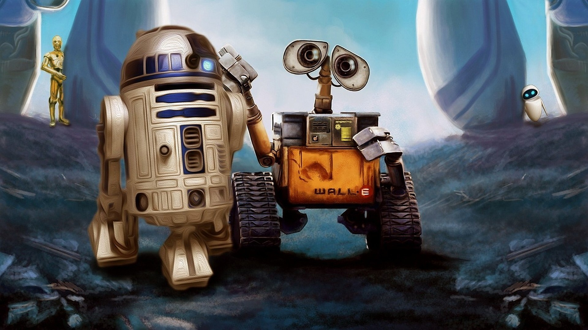 WALL·E, Pixar Animation Studios, Star Wars, Robot, Movies, R2 D2, Crossover Wallpapers  HD / Desktop and Mobile Backgrounds