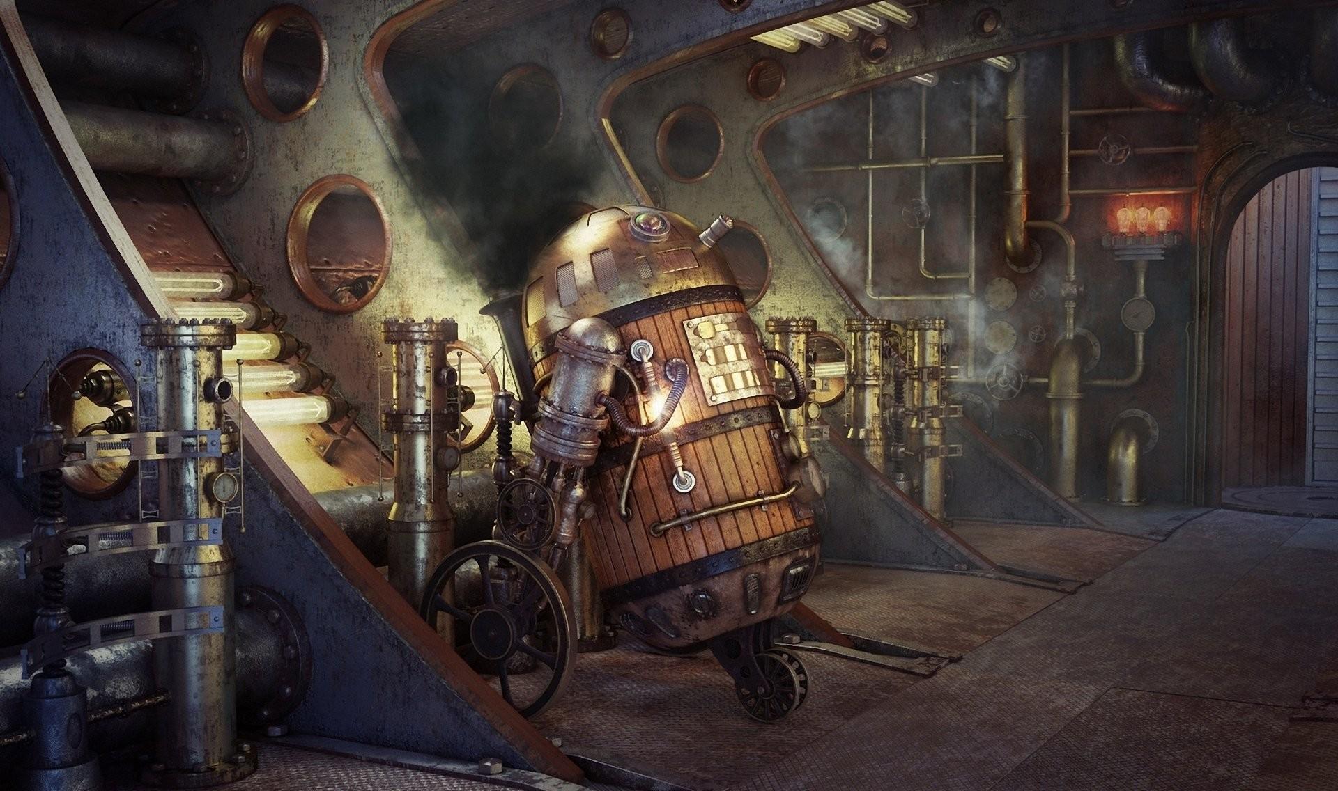 art star wars steampunk robots r2d2 smoke of the tube