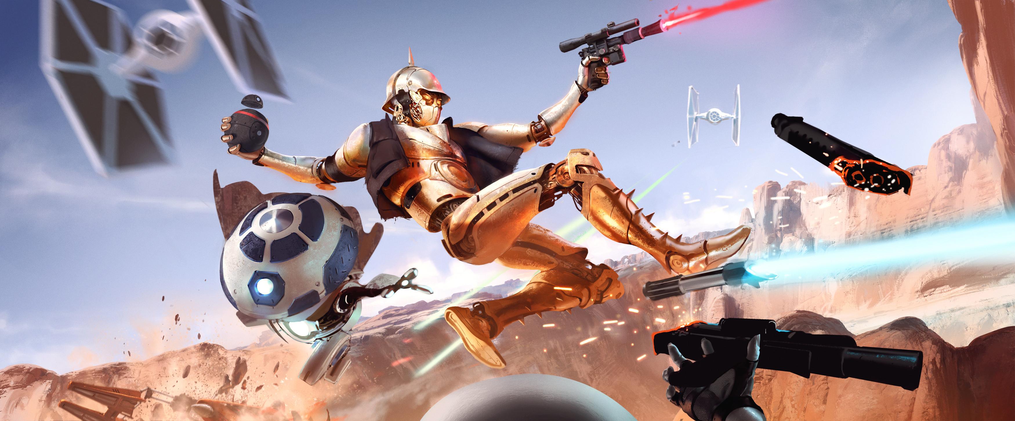 Sci Fi – Star Wars C-3PO R2-D2 TIE Fighter Wallpaper