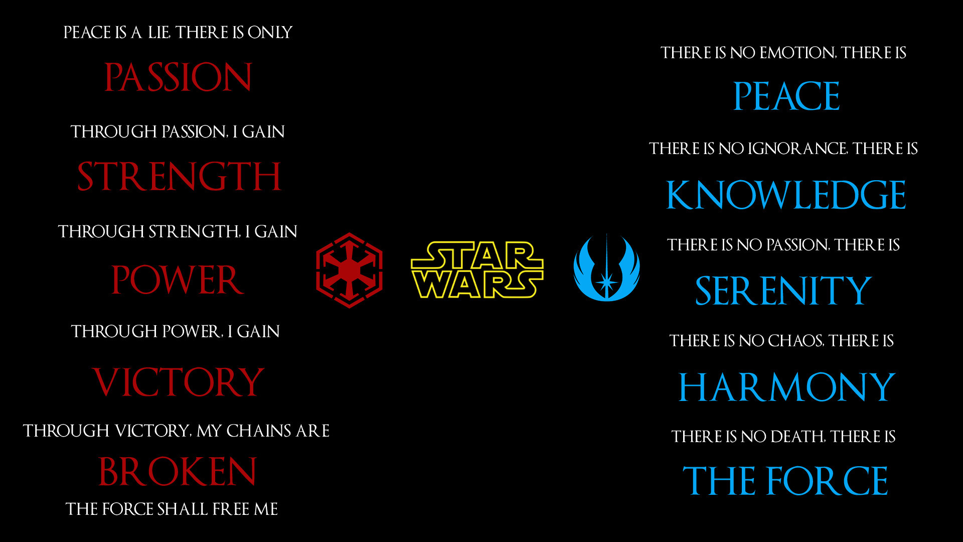 """Variants for only Sith, or only Jedi: https://imgur.com/a/qBQGH Edited so  that """"The Force"""" is highlighted in the Sith Code, Rather than """"Broken"""" …"""