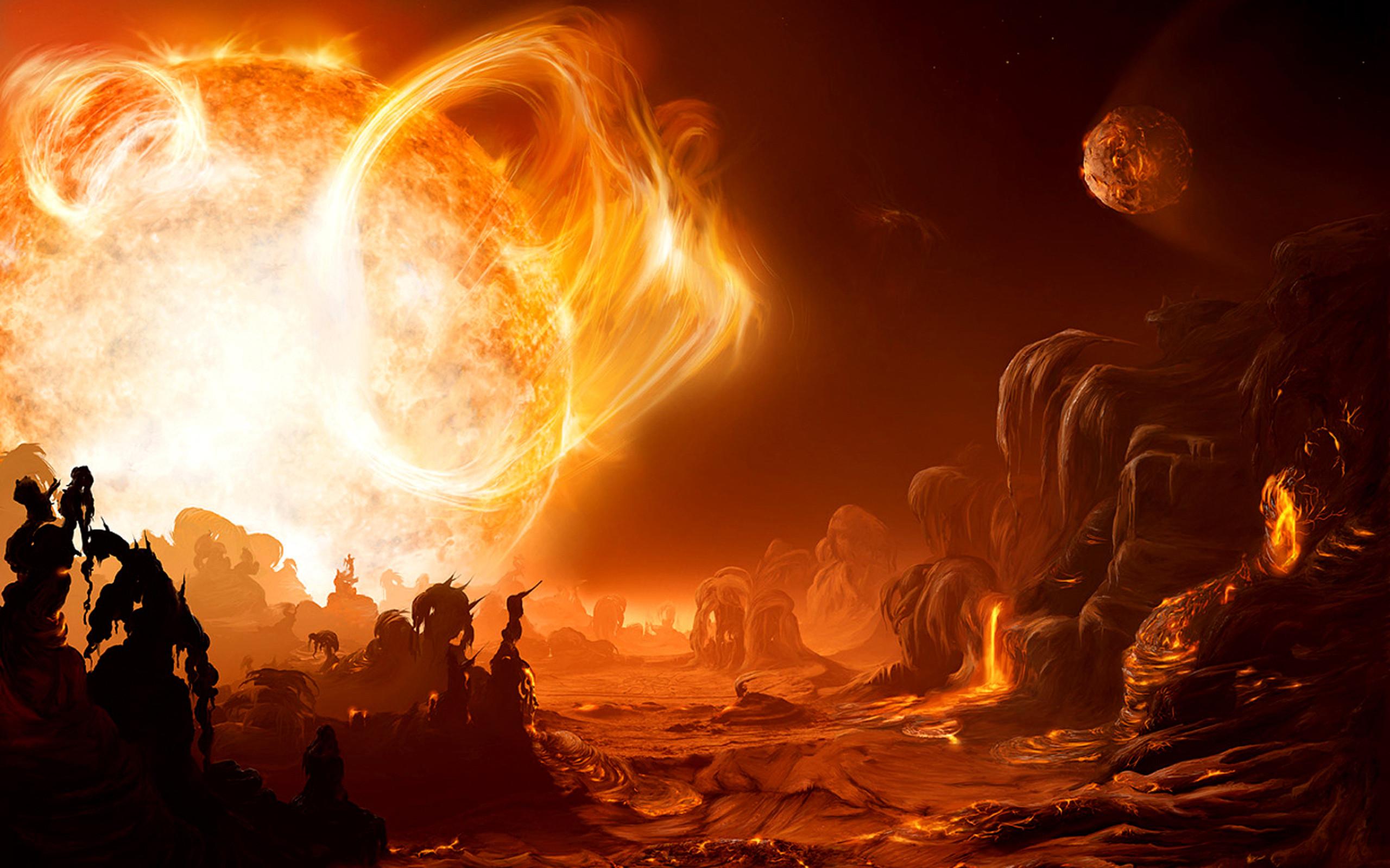 Sci fi science fiction alien landscape art artistic painting cg digital  landscapes fire flames sun hot lava solar space planets bright color  wallpaper …