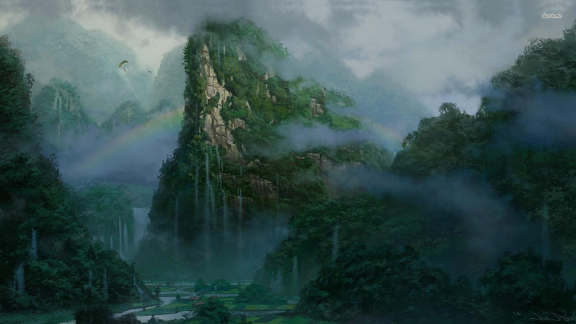 Misty alien jungle
