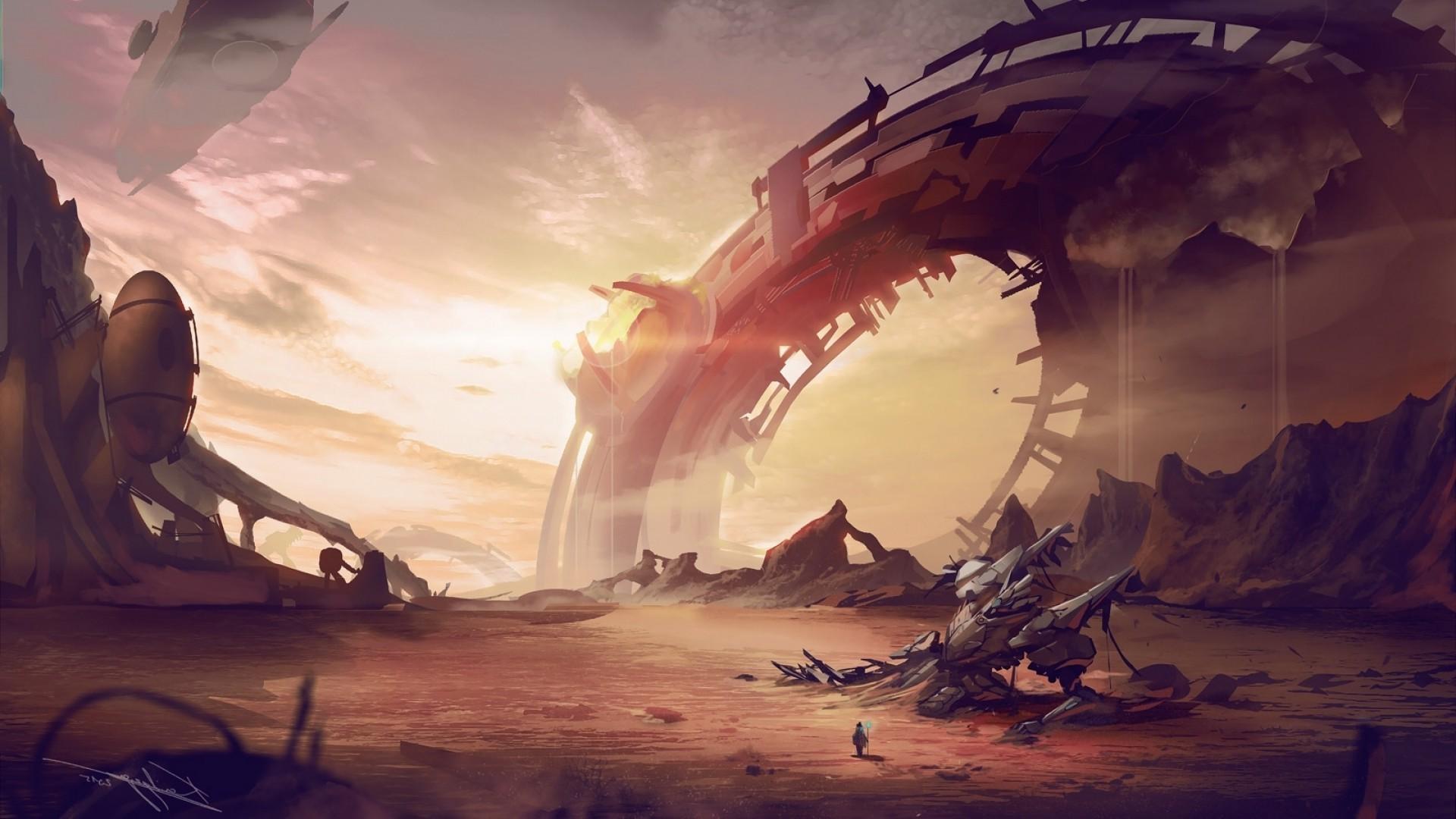 artwork, Fantasy Art, Space, Landscape, Futuristic, Aliens