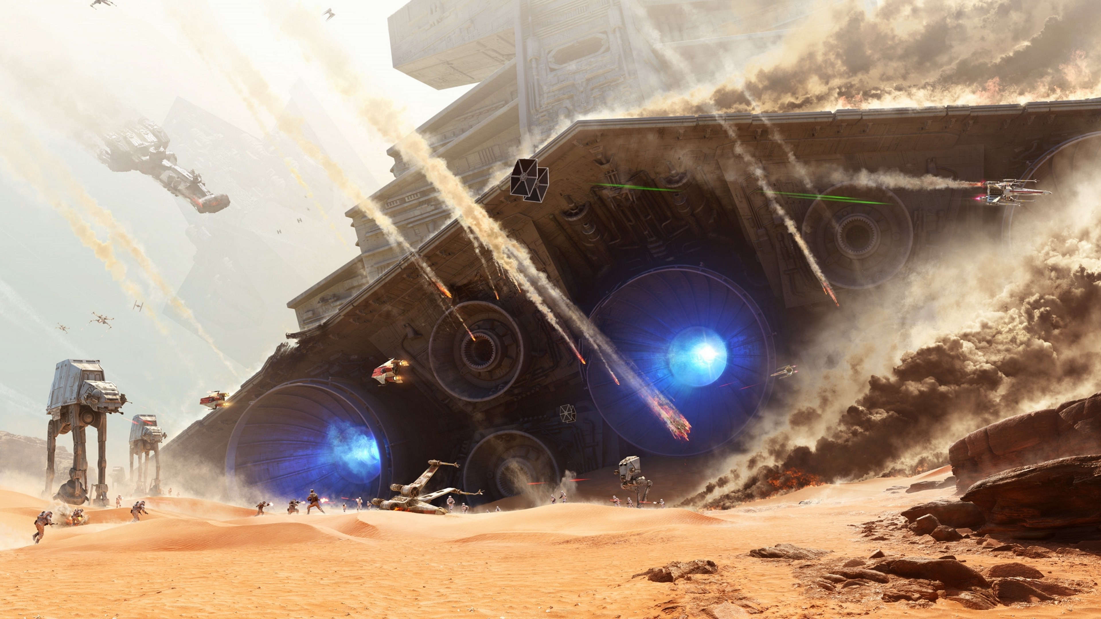 Star Wars, Star Wars: Battlefront, EA DICE, Video Games, Battle, AT AT, AT  ST, TIE Fighter, Soldier, Star Destroyer, X wing, Desert Wallpapers HD /  Desktop …