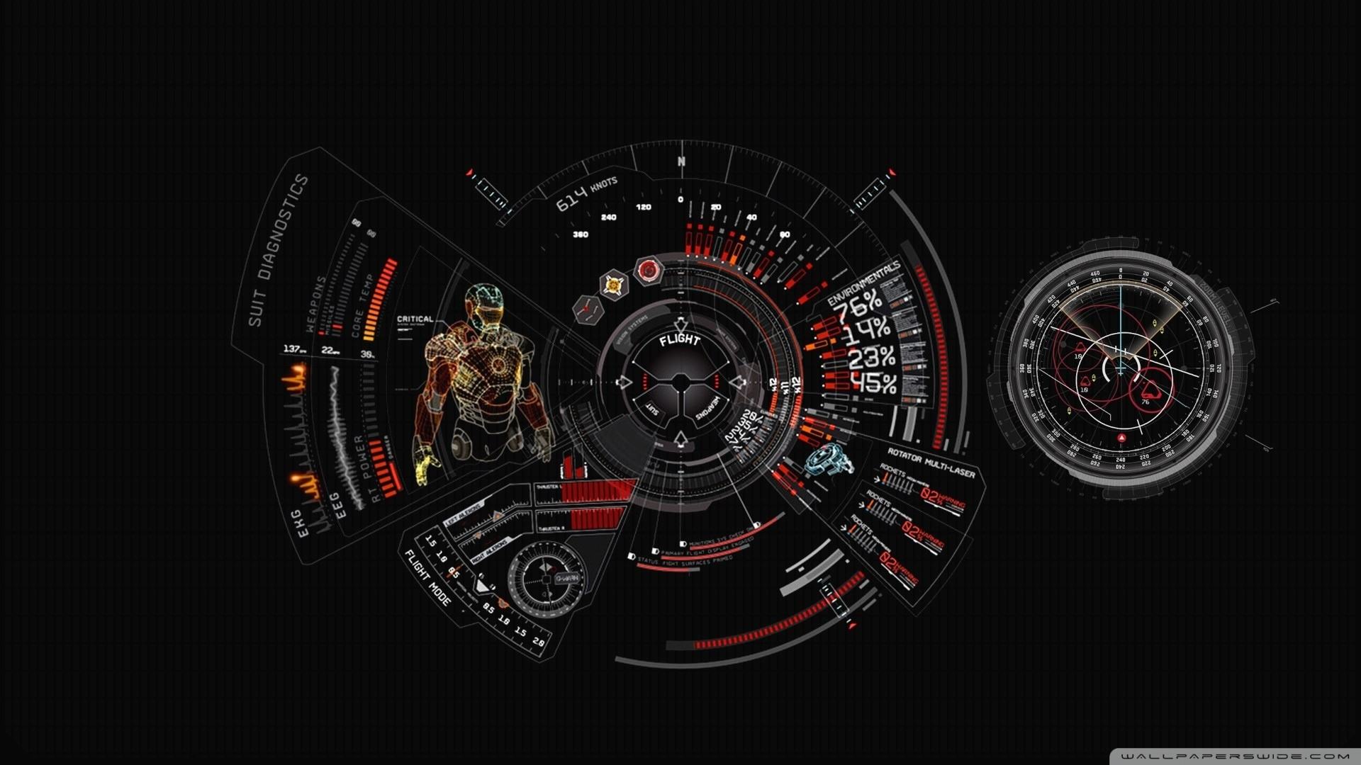 Iron Man Suit Diagnostic HD Wide Wallpaper for Widescreen