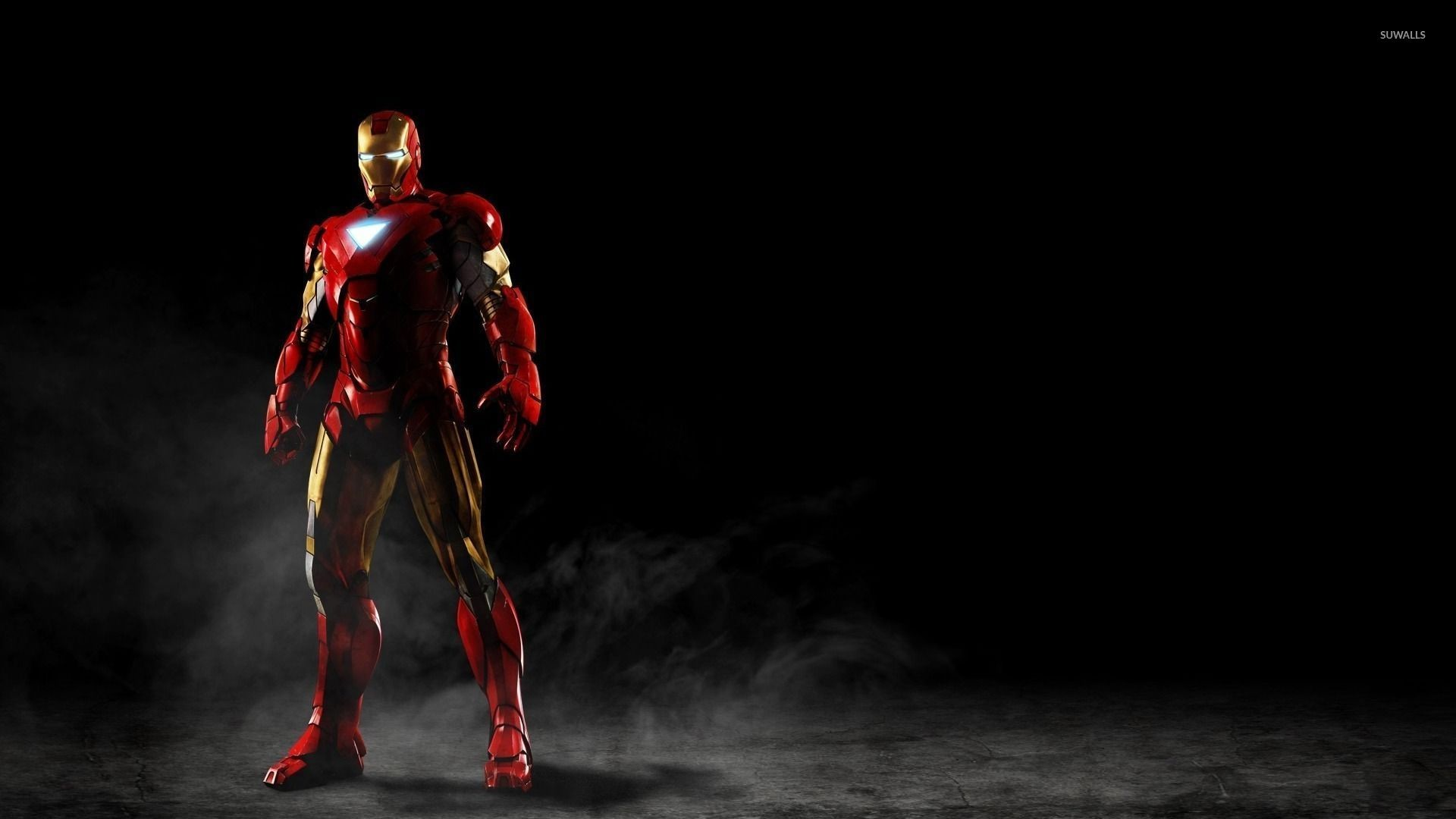 Iron Man standing in the smoke wallpaper jpg