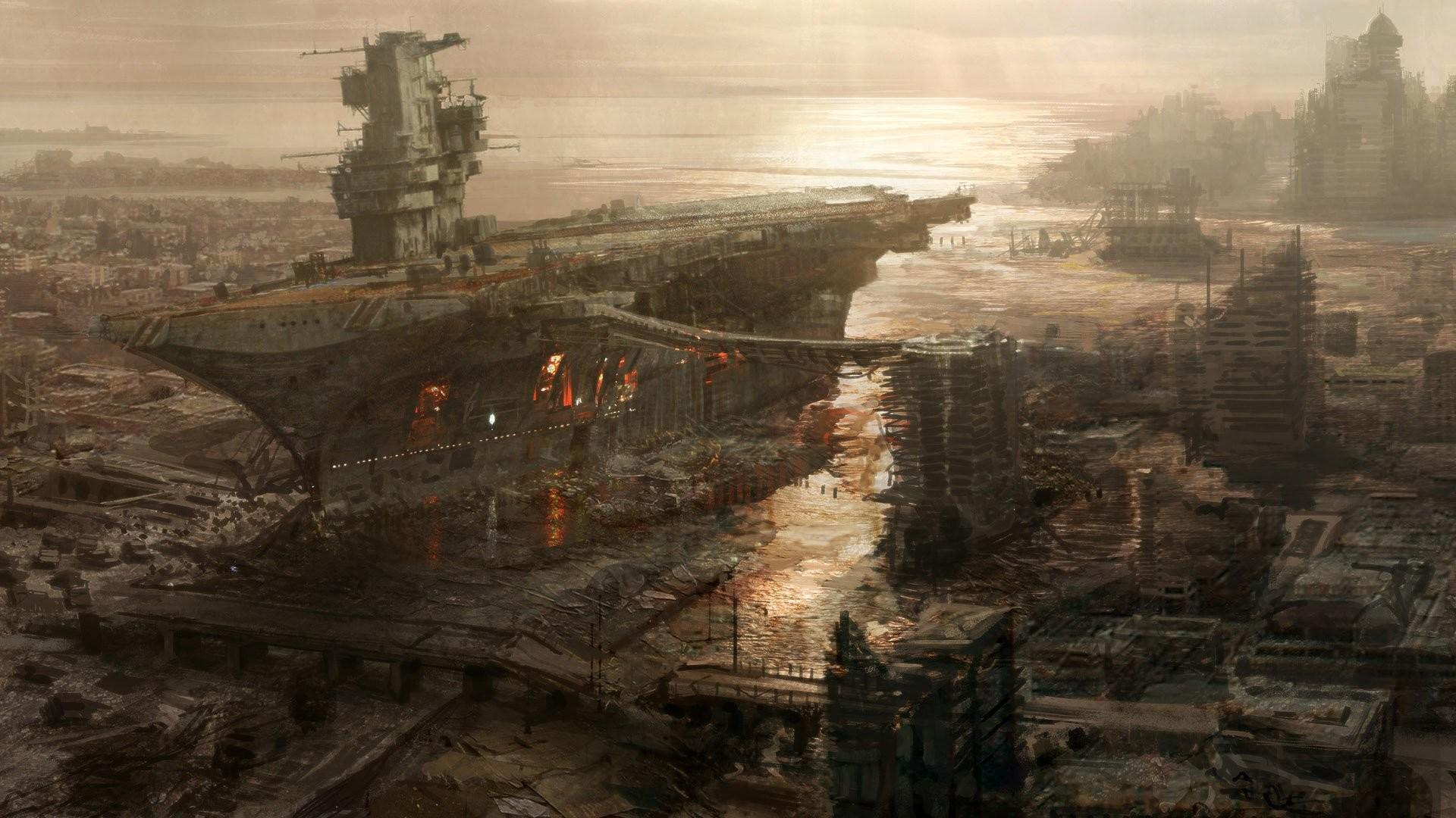 Video Game Fallout 3 Itachi Cthulhu Rivet City City Apocalypse Ship Star  Wars Fallout Sci Fi