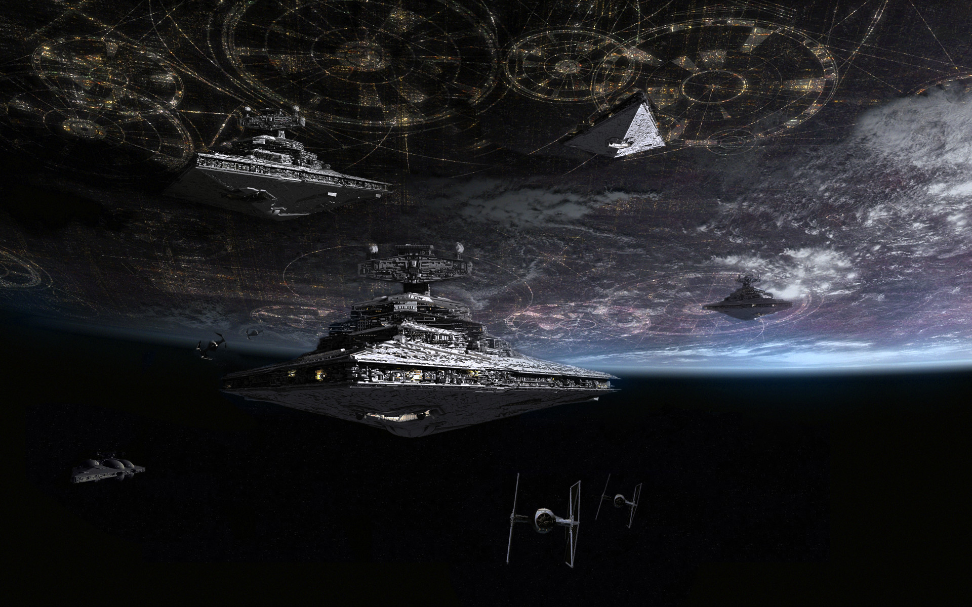 Imperial Navy ships at Coruscant by Tony Dicker (Fan Art). Star Destroyer  …
