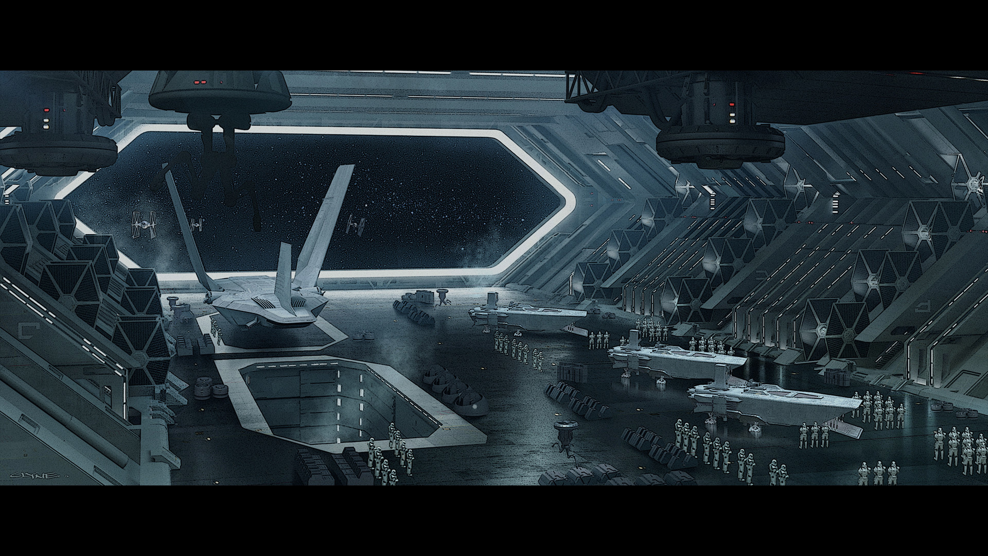 TIE Loading Wide – James Clyne conceived this look at the hangar of Hux and  Ren's flagship Star Destroyer, Finalizer. Although the design of Ren's  shuttle …