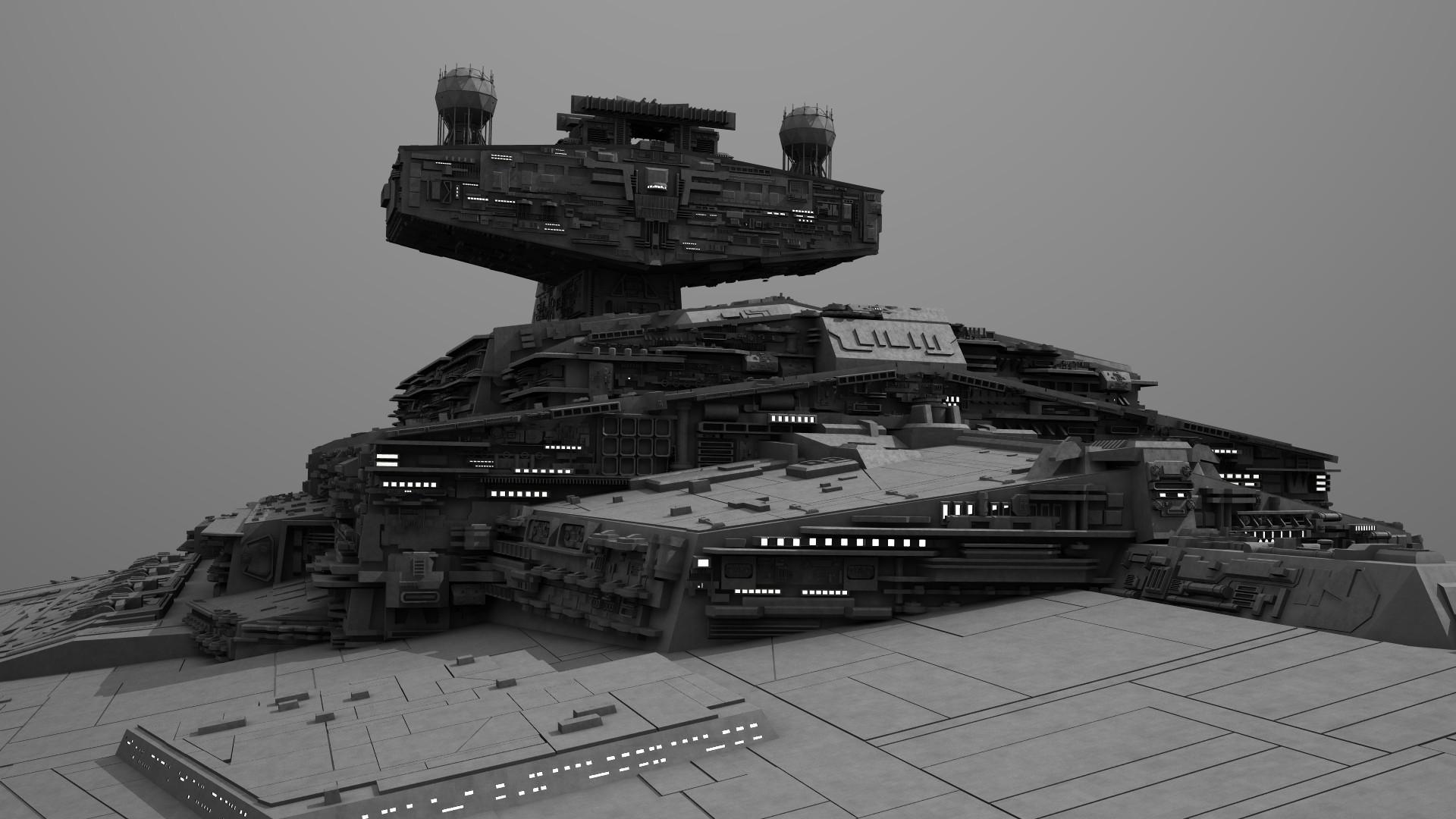 Imperial II Star Destroyer Modeled in Lightwave3D. Textured in Adobe  Photshop