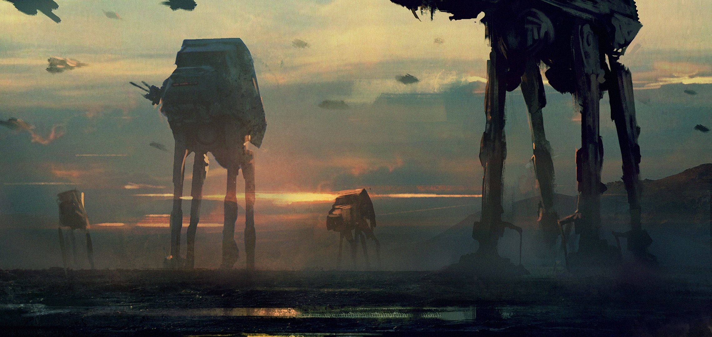 Download wallpaper imperial walkers, star wars, art, robots, films .