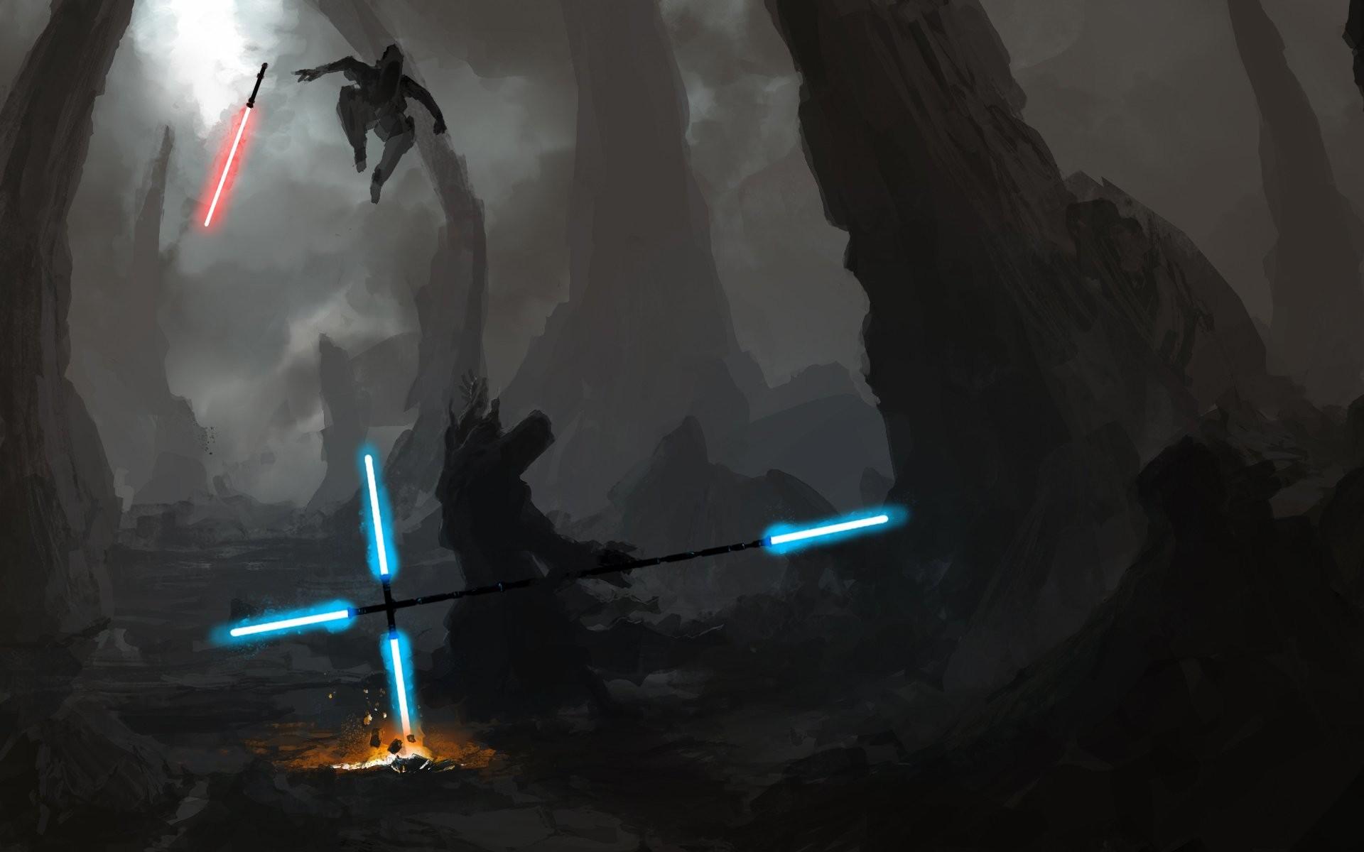 Artwork Duel Energy Jedi Lightsabers Sith Star Wars