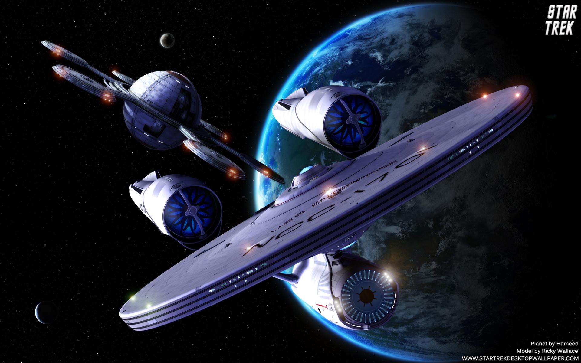 Star Trek USS Enterprise 1701 departing United Federation of Planets  Starbase. Free Star Trek computer