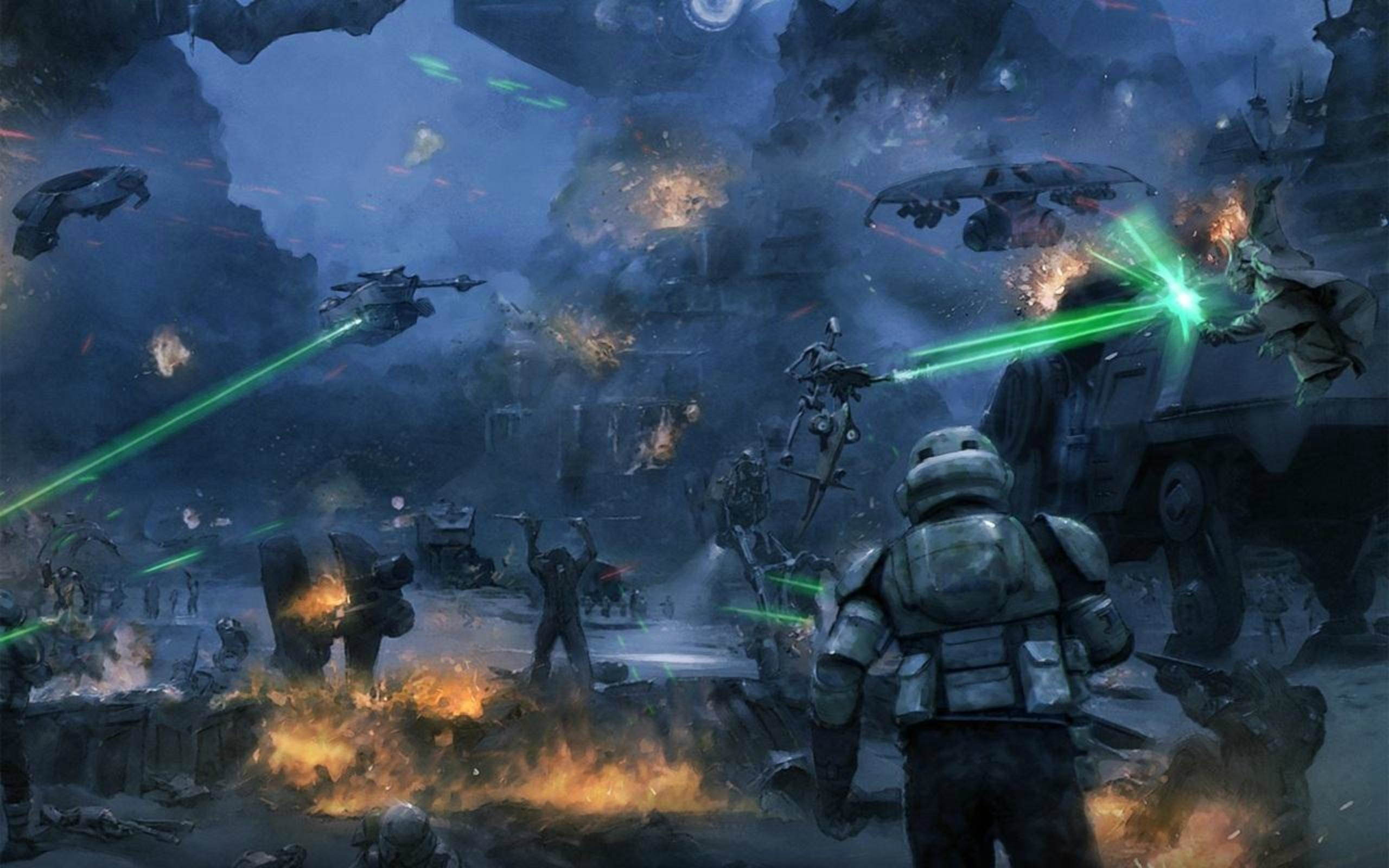 Part of the Battle of Kashyyyk. Two troopers of the 501st …