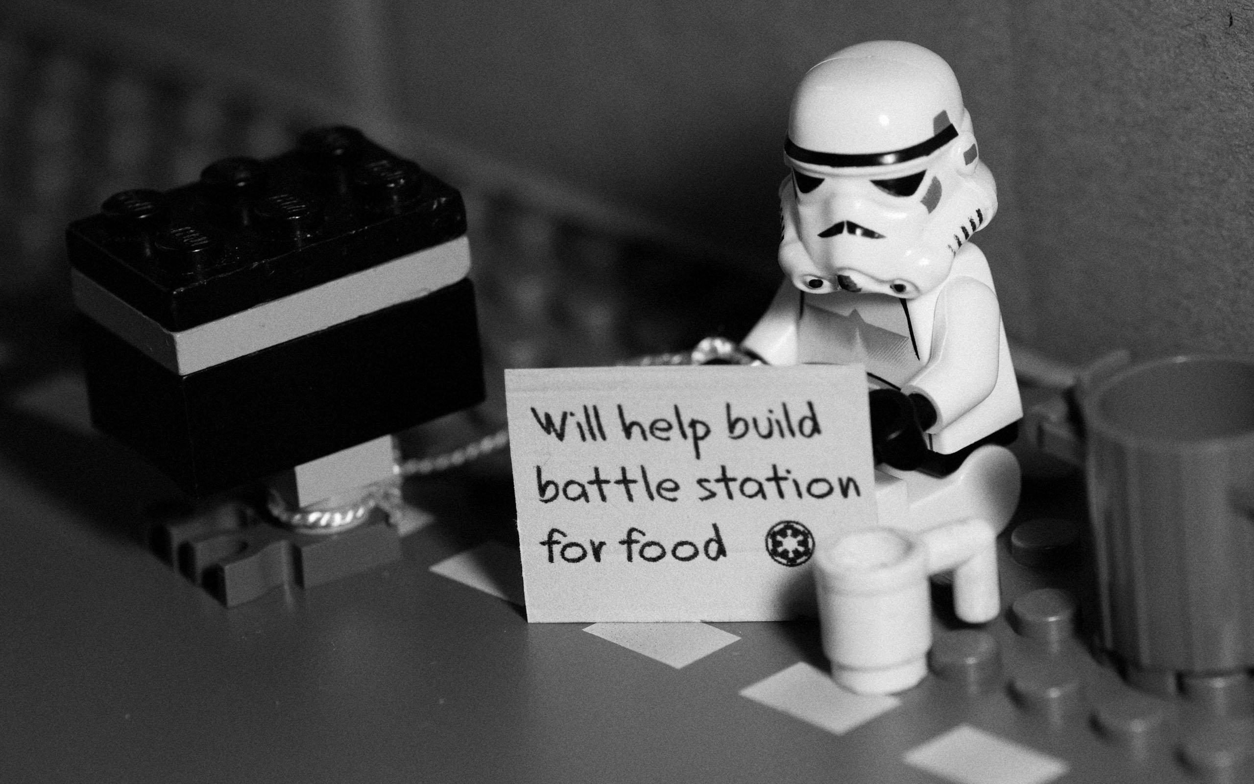 Funny Grayscale Legos Monochrome Signs Star Wars Stormtroopers