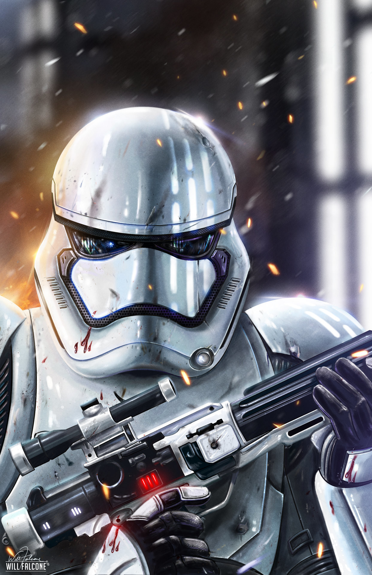 Here's a Star Wars The Force Awakens inspired new storm trooper painting I  created. I