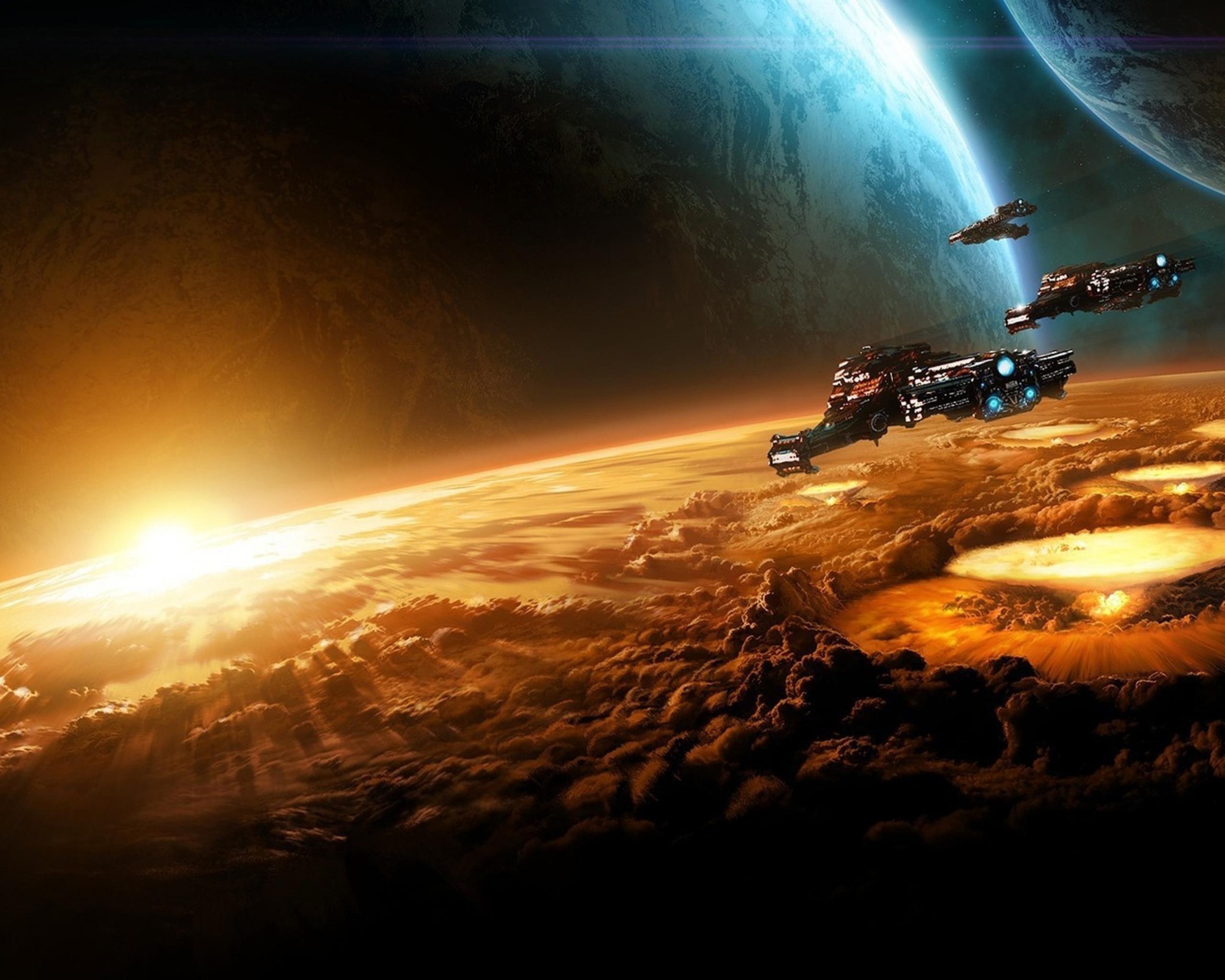 Wallpaper Spaceship Digital Galaxy Planet Sci Fi Wallpaper, HQ .