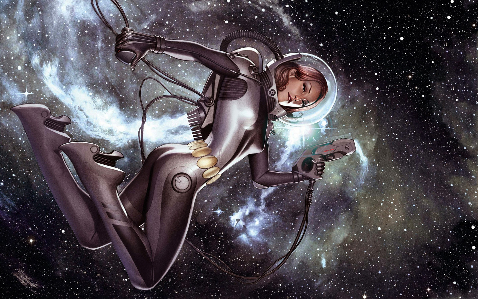 Sci Fi – Women Warrior Retro Pistol Spacesuit Girls & Guns Adventure  Wallpaper