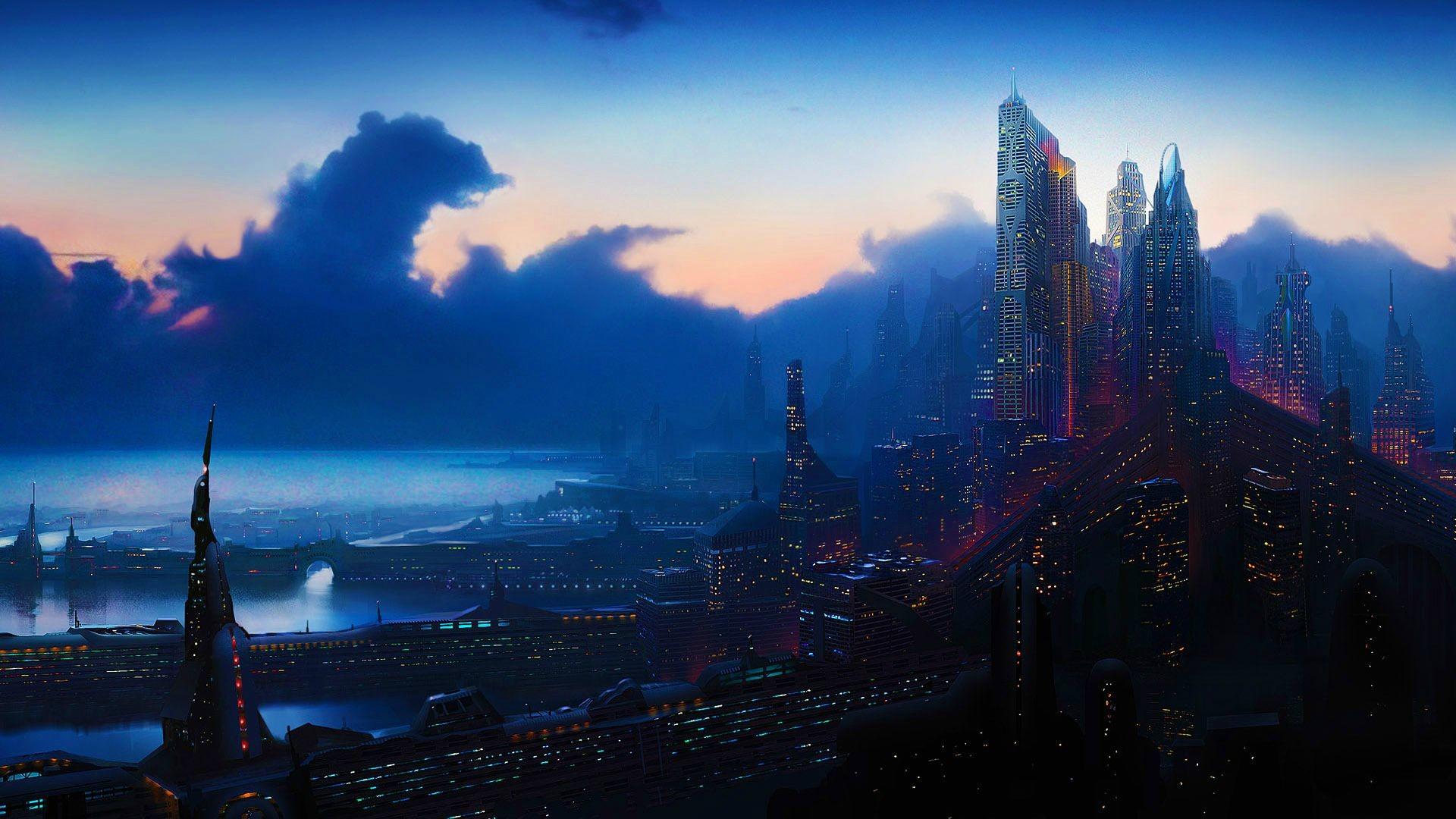 cyberpunk sci fi science fiction futuristic world cities architecture  buildings skyscrapers night lights window detail tech marina harbor oc.