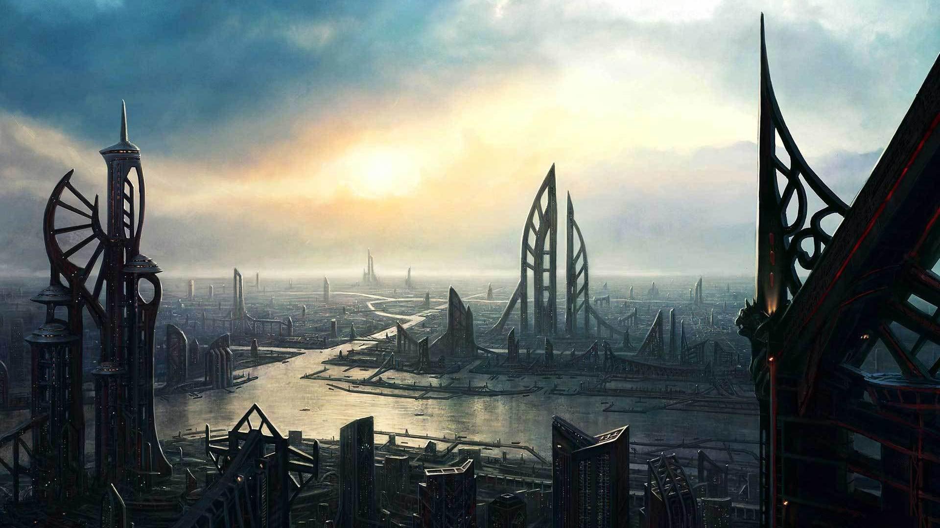 https://newevolutiondesigns.com/images/freebies/futuristic-city-wallpaper-40.jpg    // World // Sci-Fi   Pinterest   Environment concept art, …