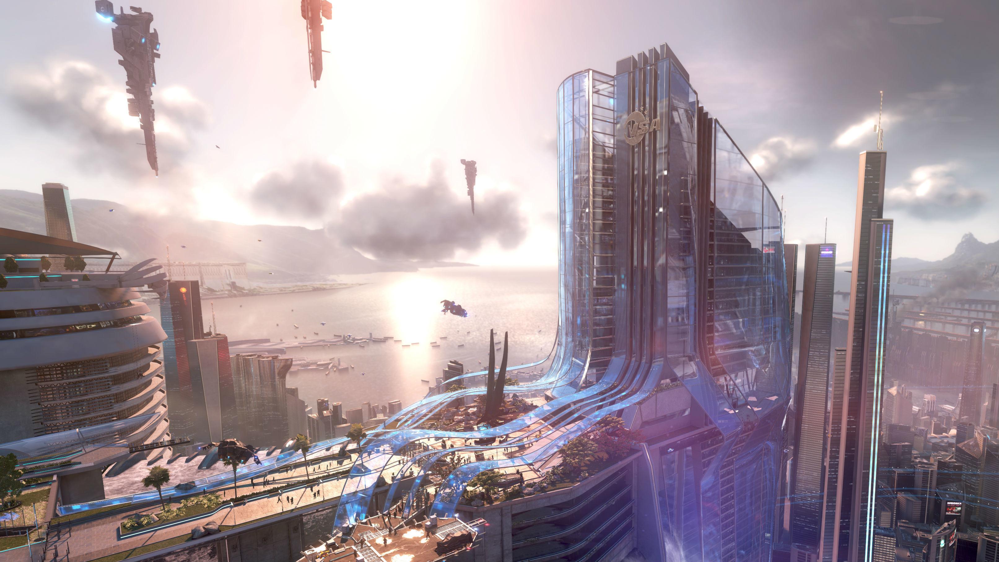 Sci fi city picture wallpaper.