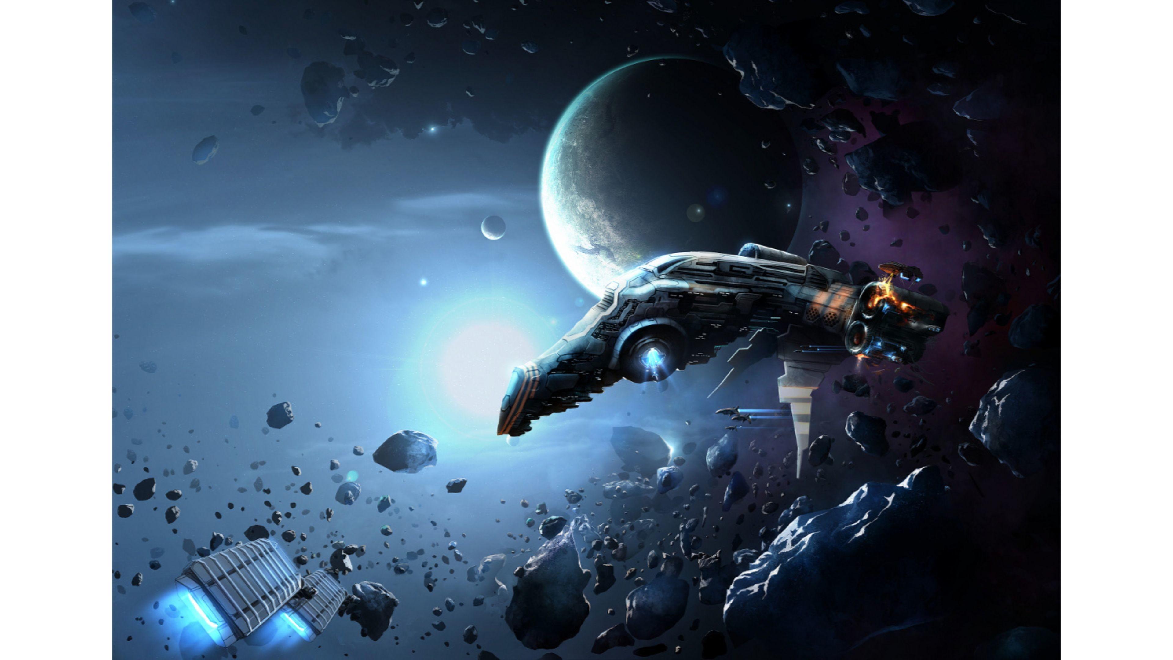Sci Fi Asteroid 4K Wallpaper