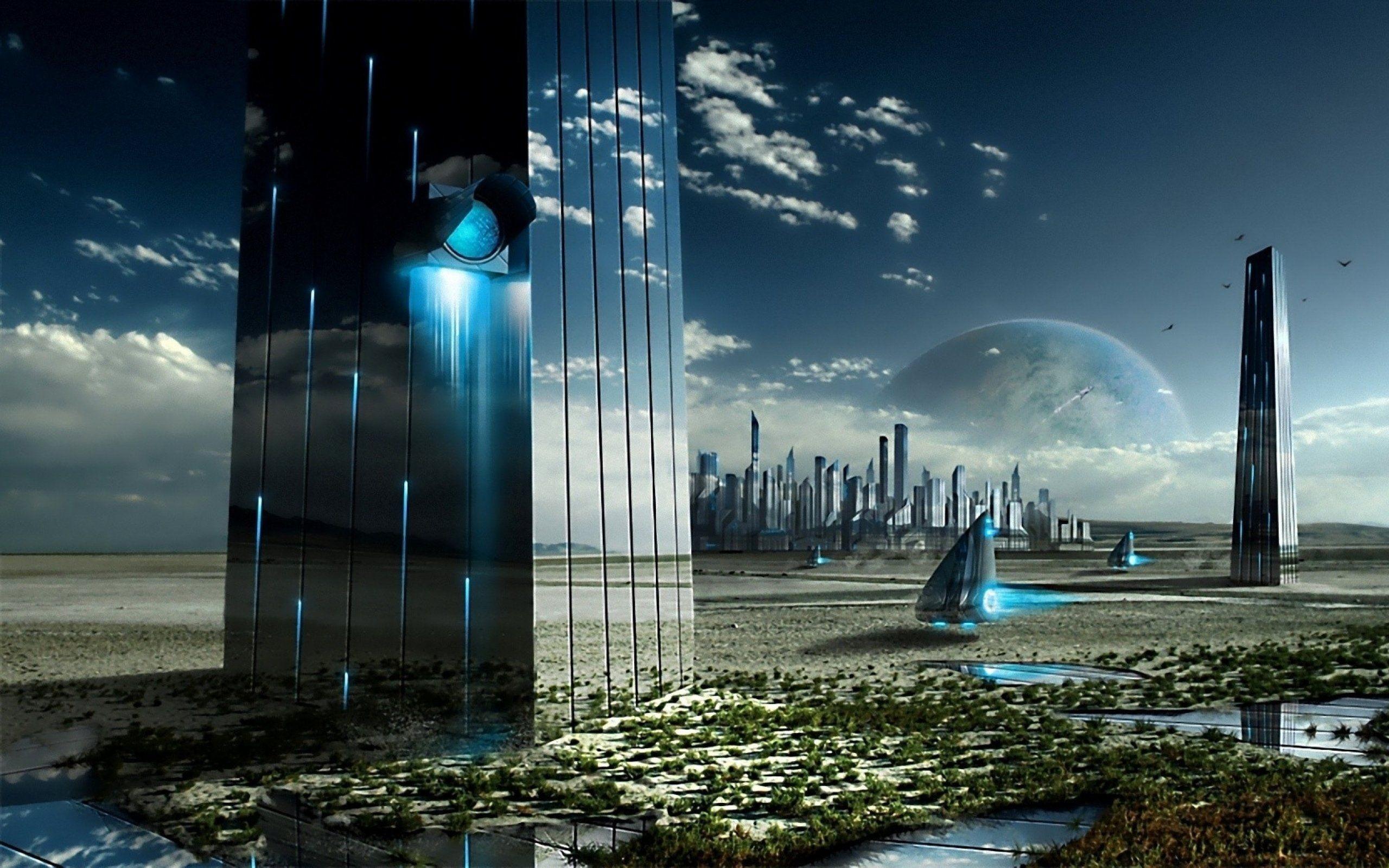Abstacto scifi ciudad futurista wallpaper