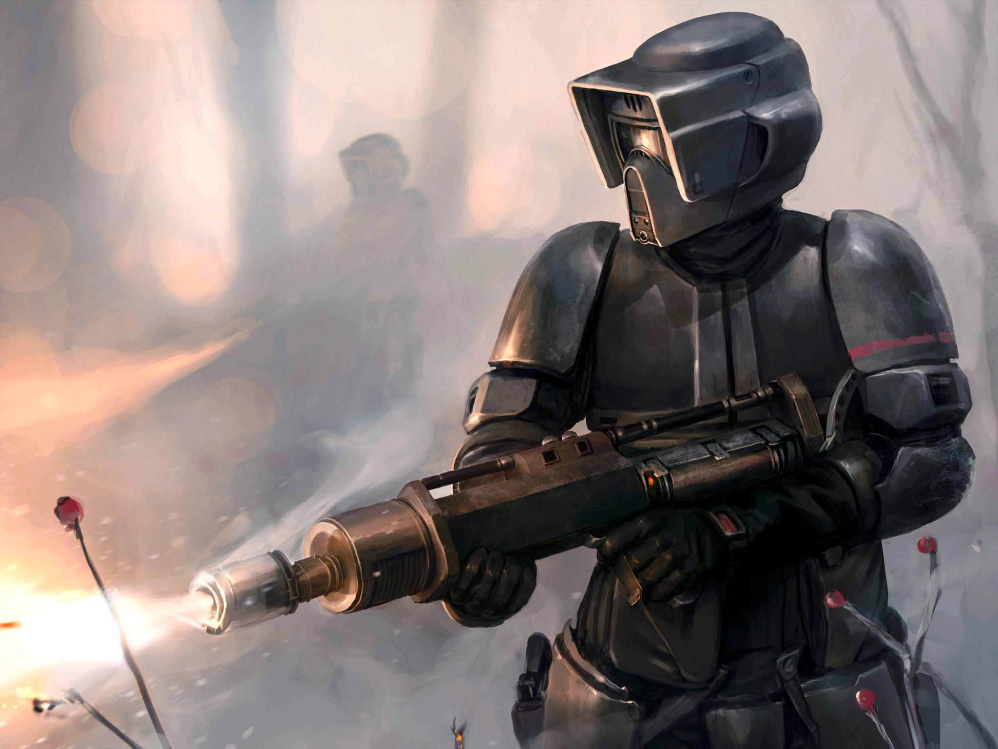 Download wallpaper star wars, scout trooper, flamethrower, art .