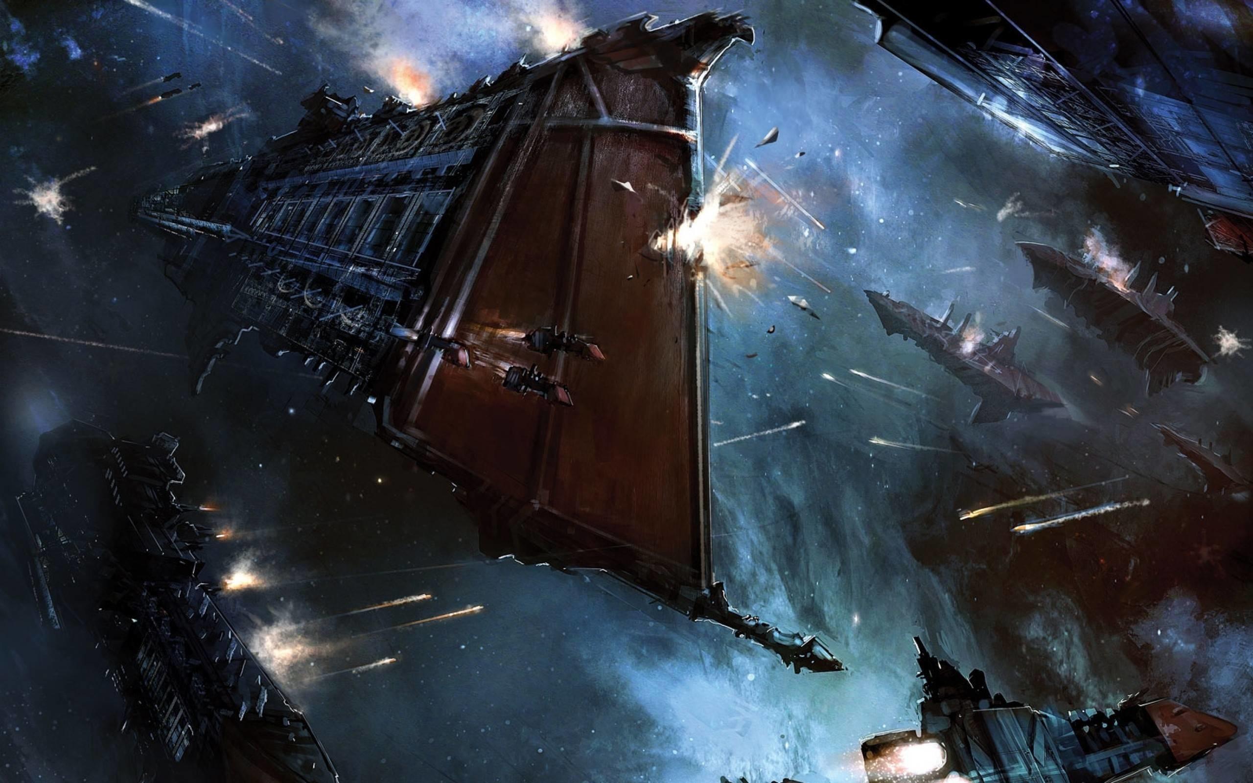 Space Battle Wallpaper Free Download 2560×1600