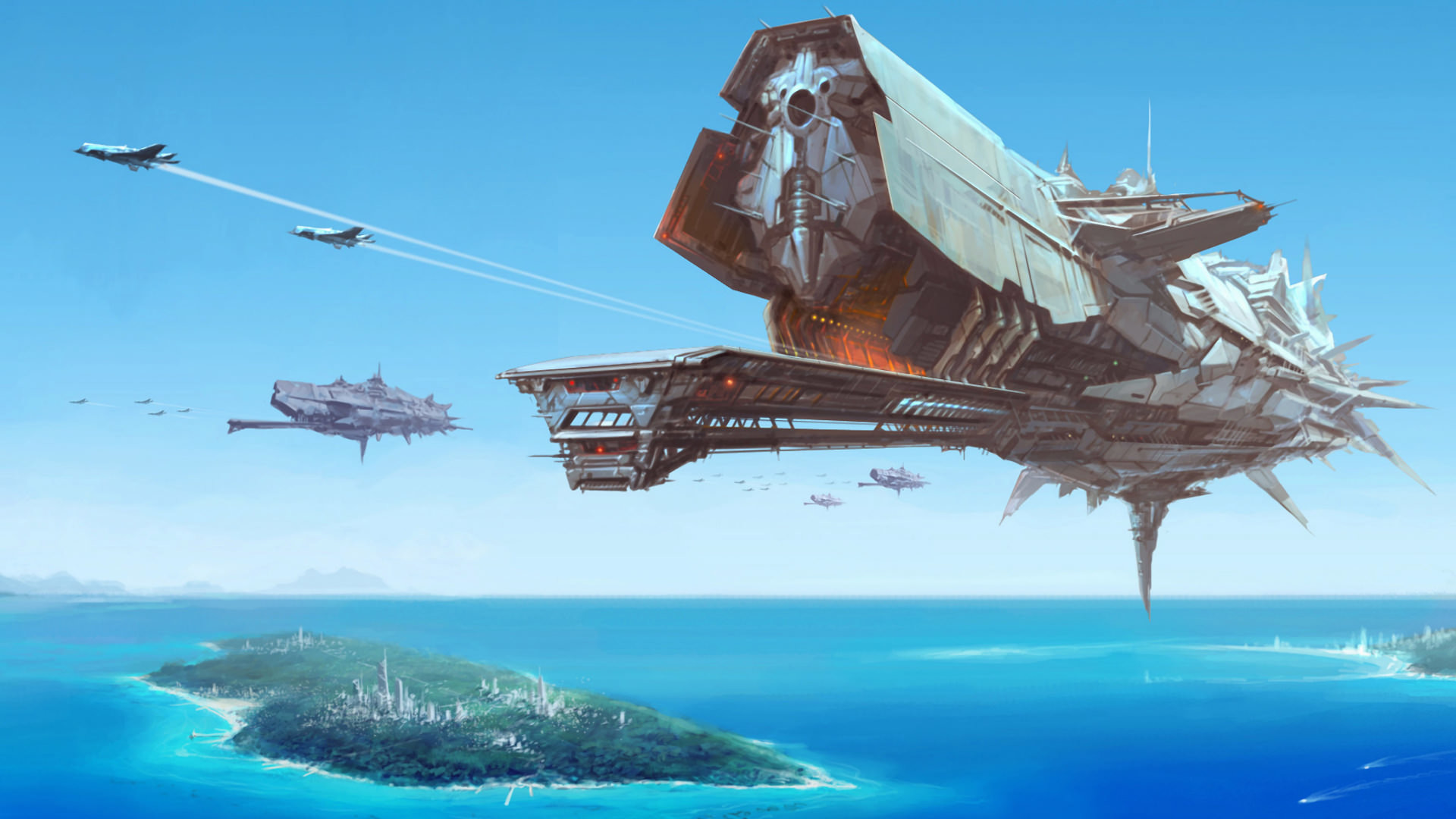 Sci-Fi Battle Space Ship Wallpaper – 1920 x Impressive digital painting of  a enormous battle space ship flying over a futuristic city island.