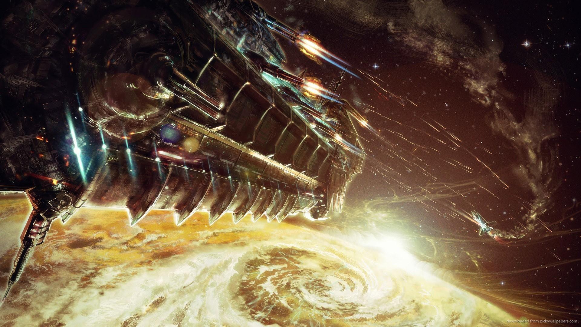 HD Spaceship battle wallpaper