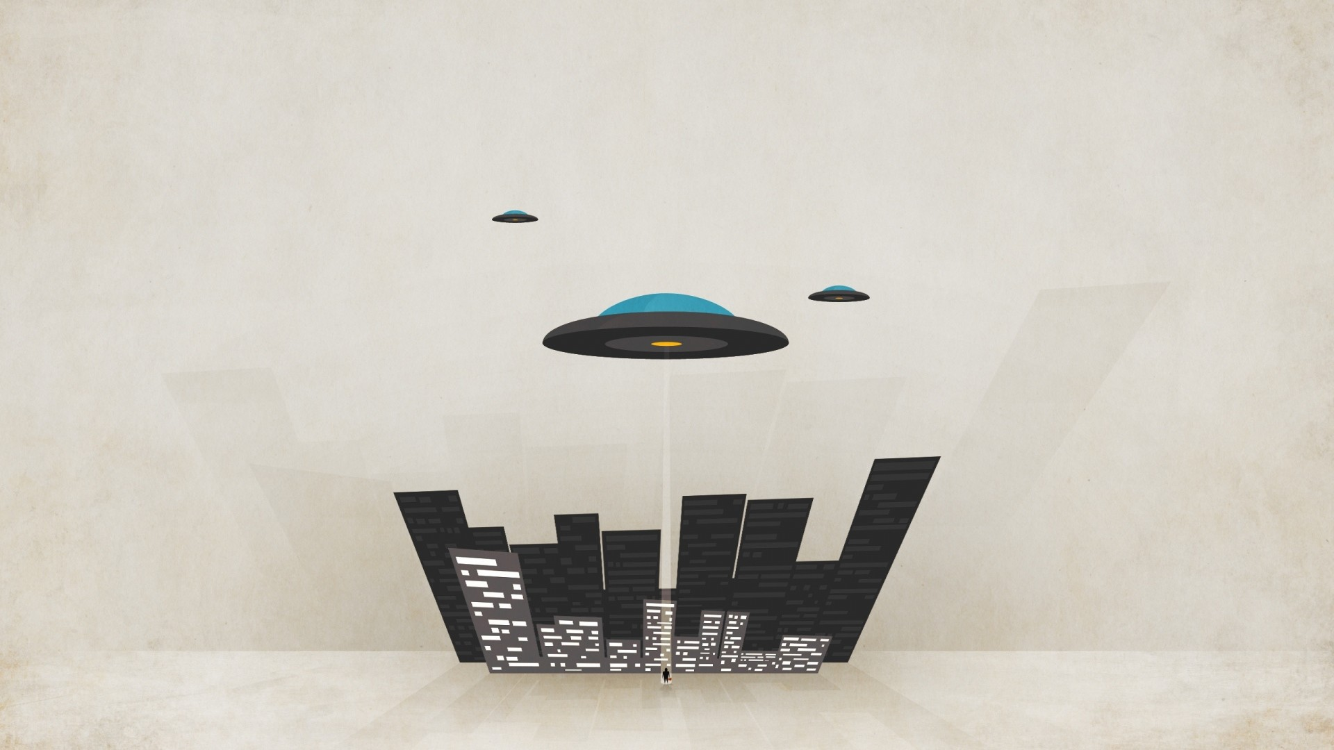 Preview wallpaper plates, minimal walls, city, ufo, minimalism, flying  1920×1080