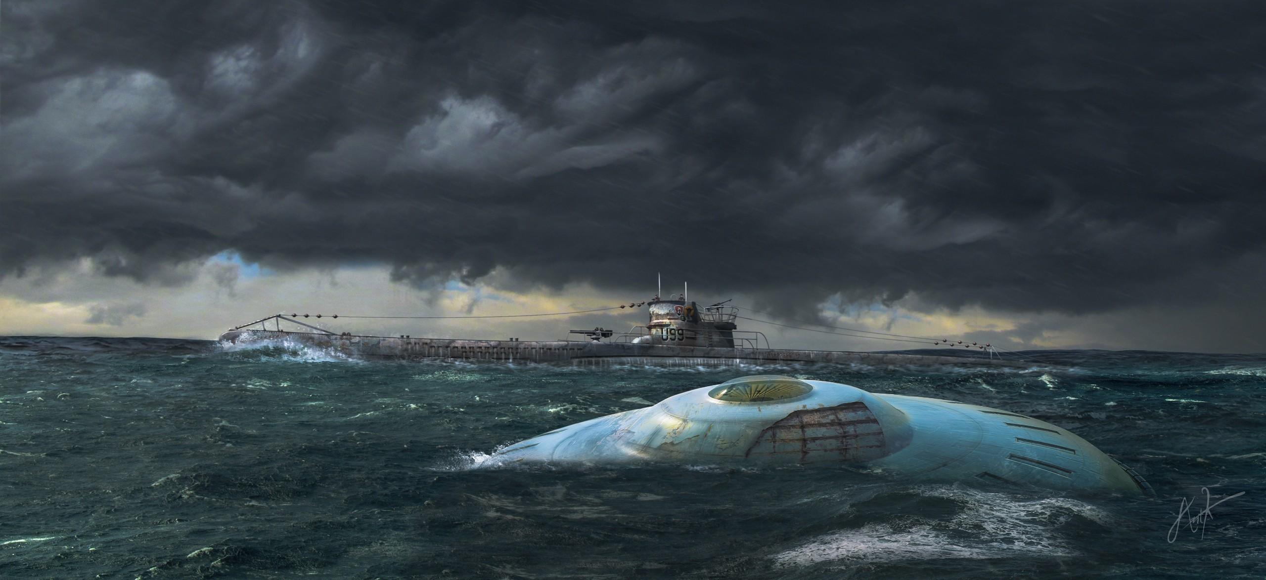 artwork, UFO, Submarine Wallpaper HD