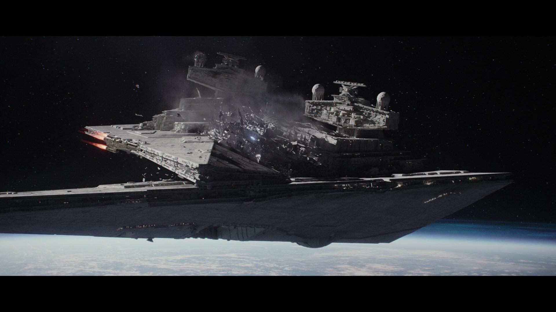 Wallpaper of a Star Destroyer destroying another Star Destroyer (Rogue One)